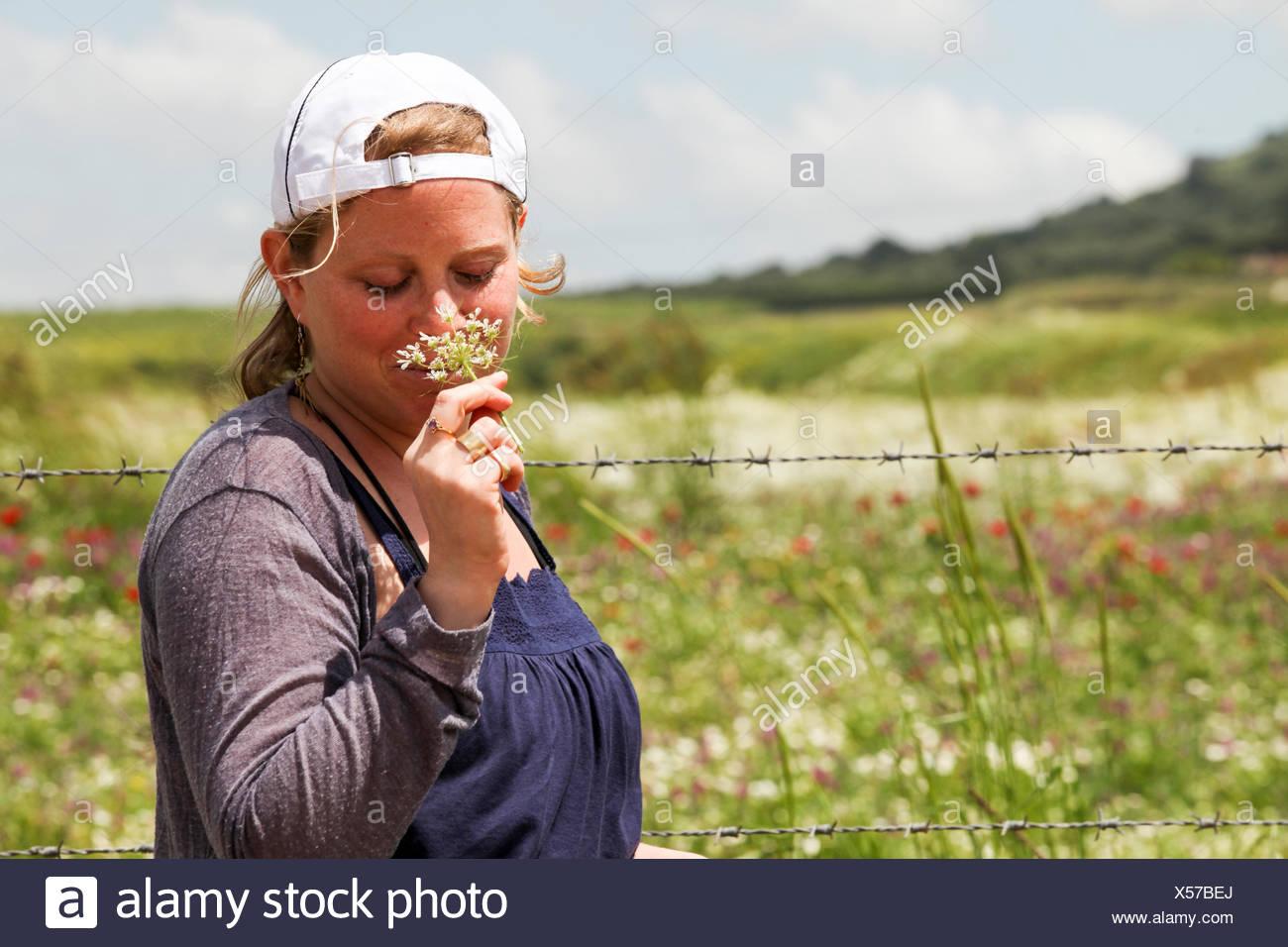 Blonde teen in the field