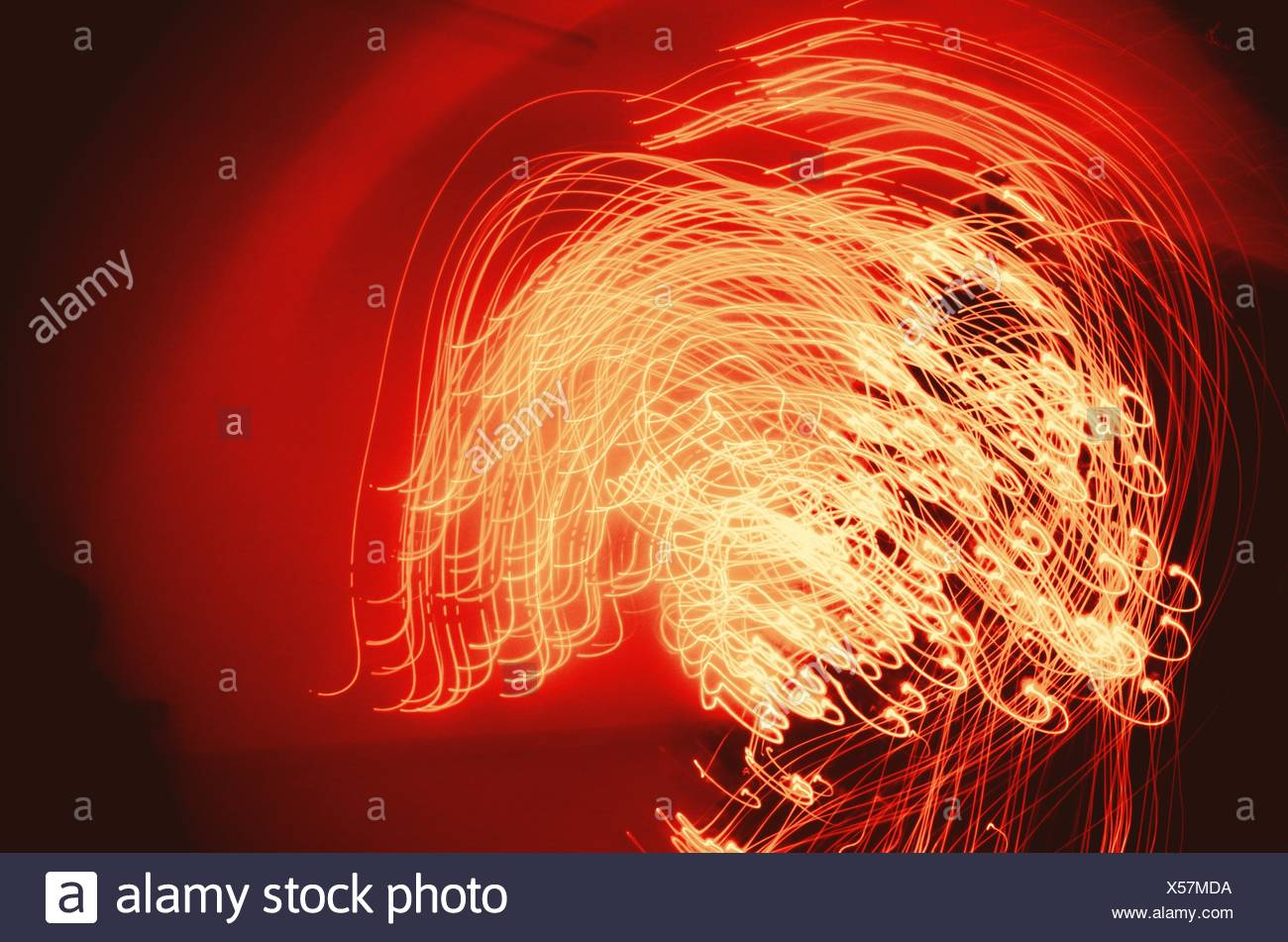 Abstract Image Of Illuminated Light Trails During Christmas - Stock Image