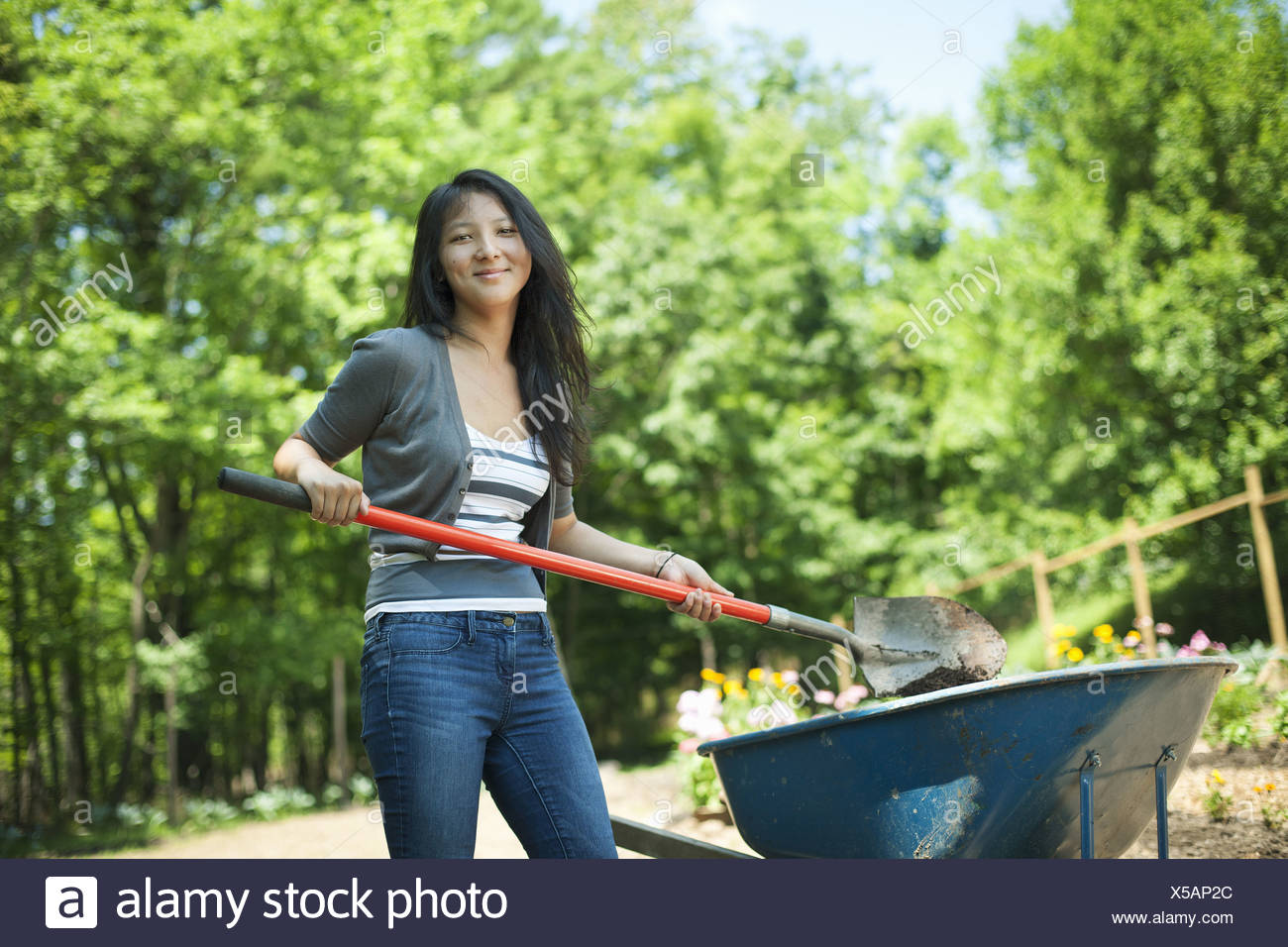 Woodstock New York USA young woman on traditional farm in the countryside - Stock Image