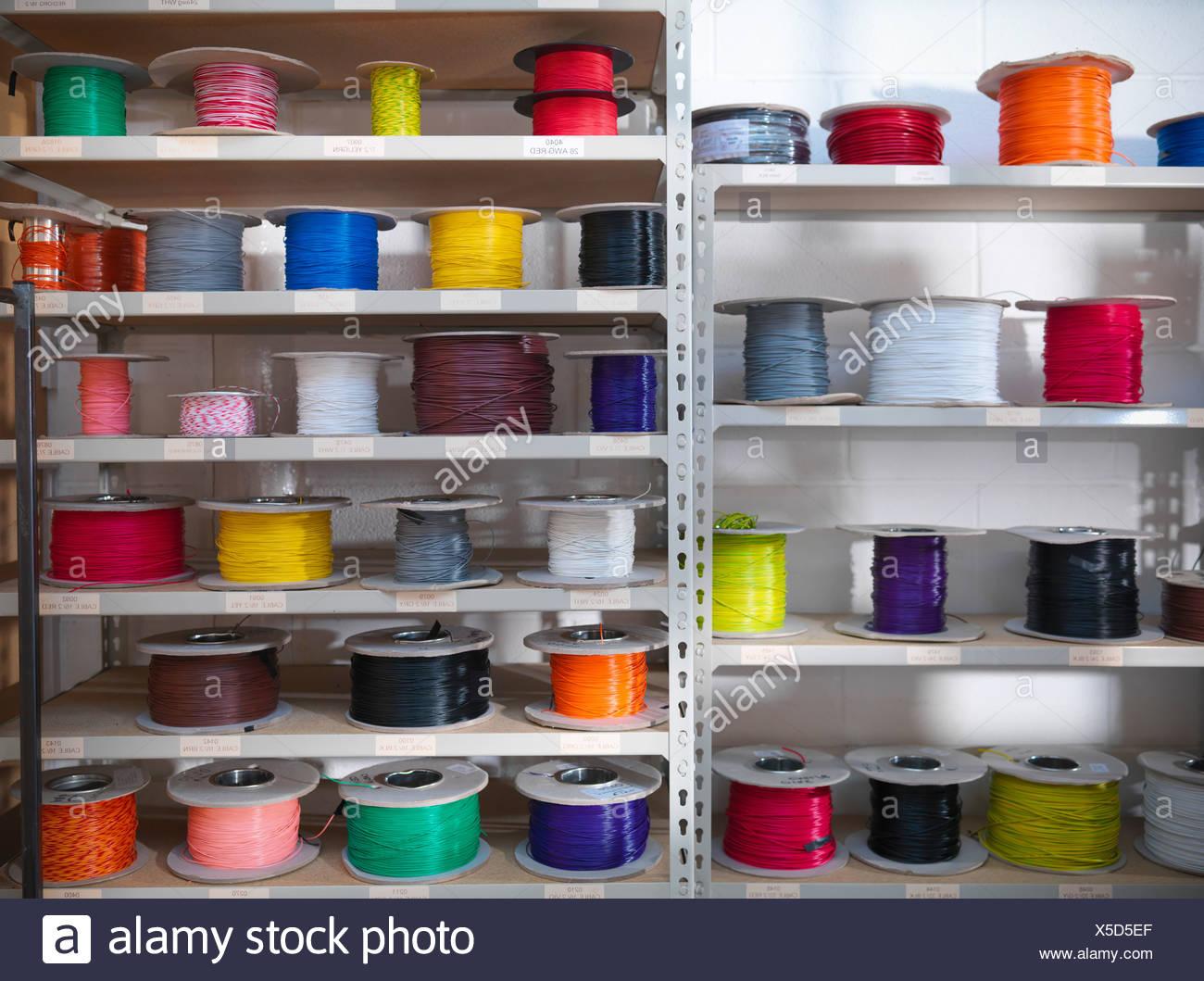 Wire bundles in wiring storeroom - Stock Image