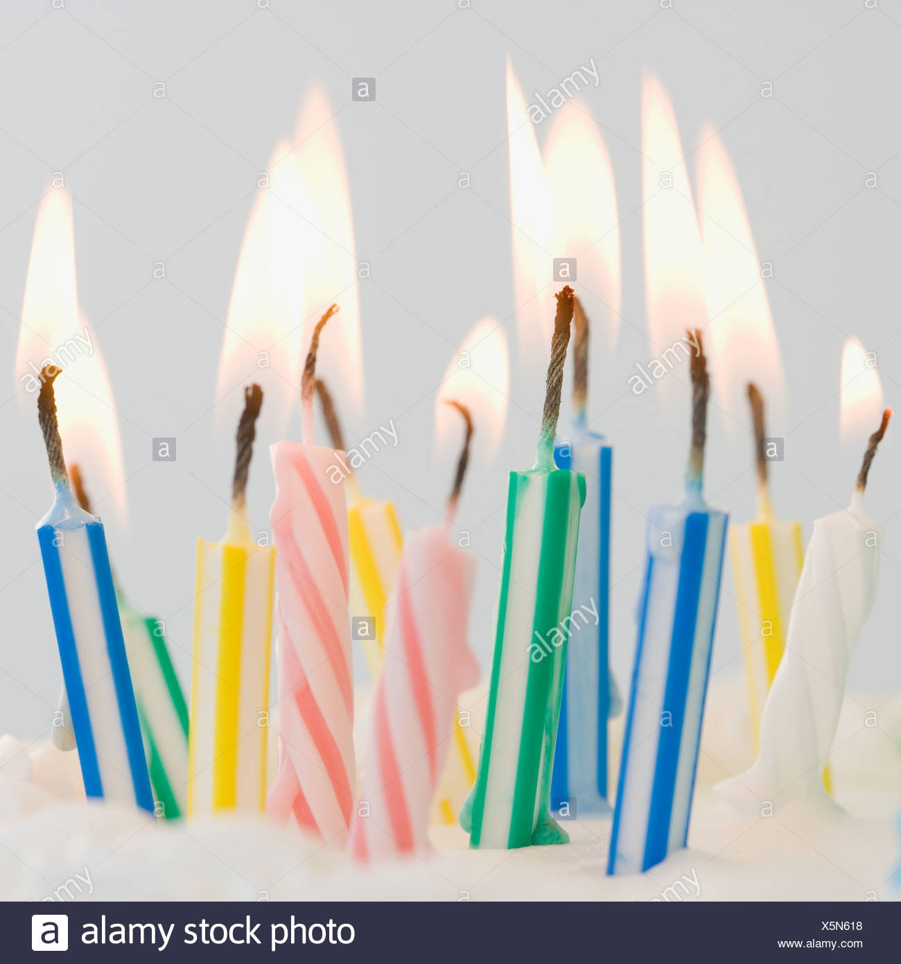 close up of lit birthday candles stock photo 278904900 alamy