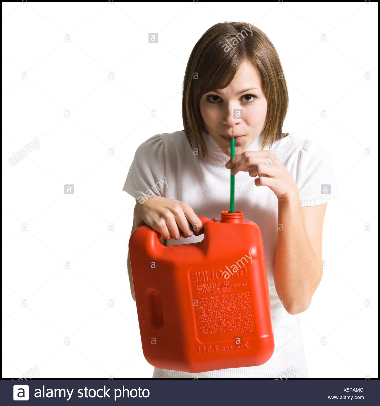 woman with a gas can - Stock Image