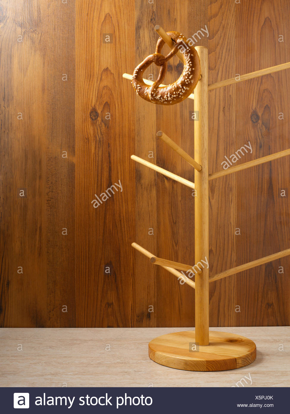 Bagel left on a stand - Stock Image