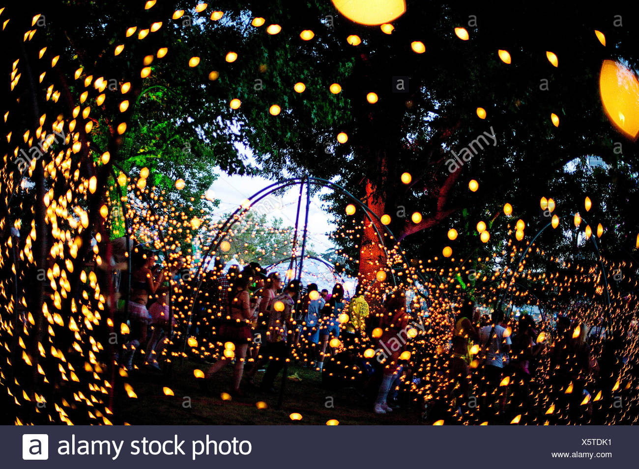 Fans walk through a canopy of Christmas lights inside the Electric ...