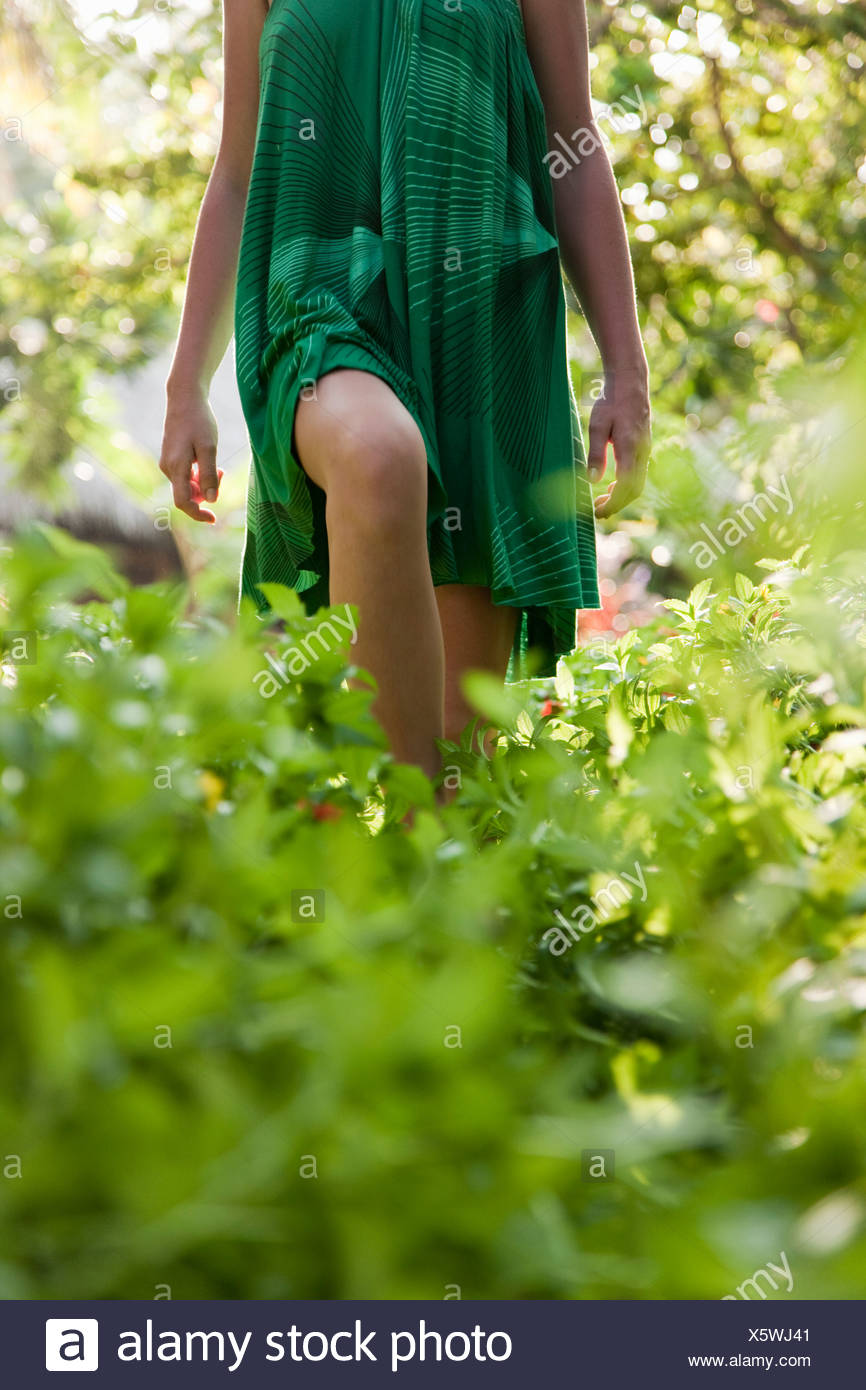 Woman walking in forest - Stock Image