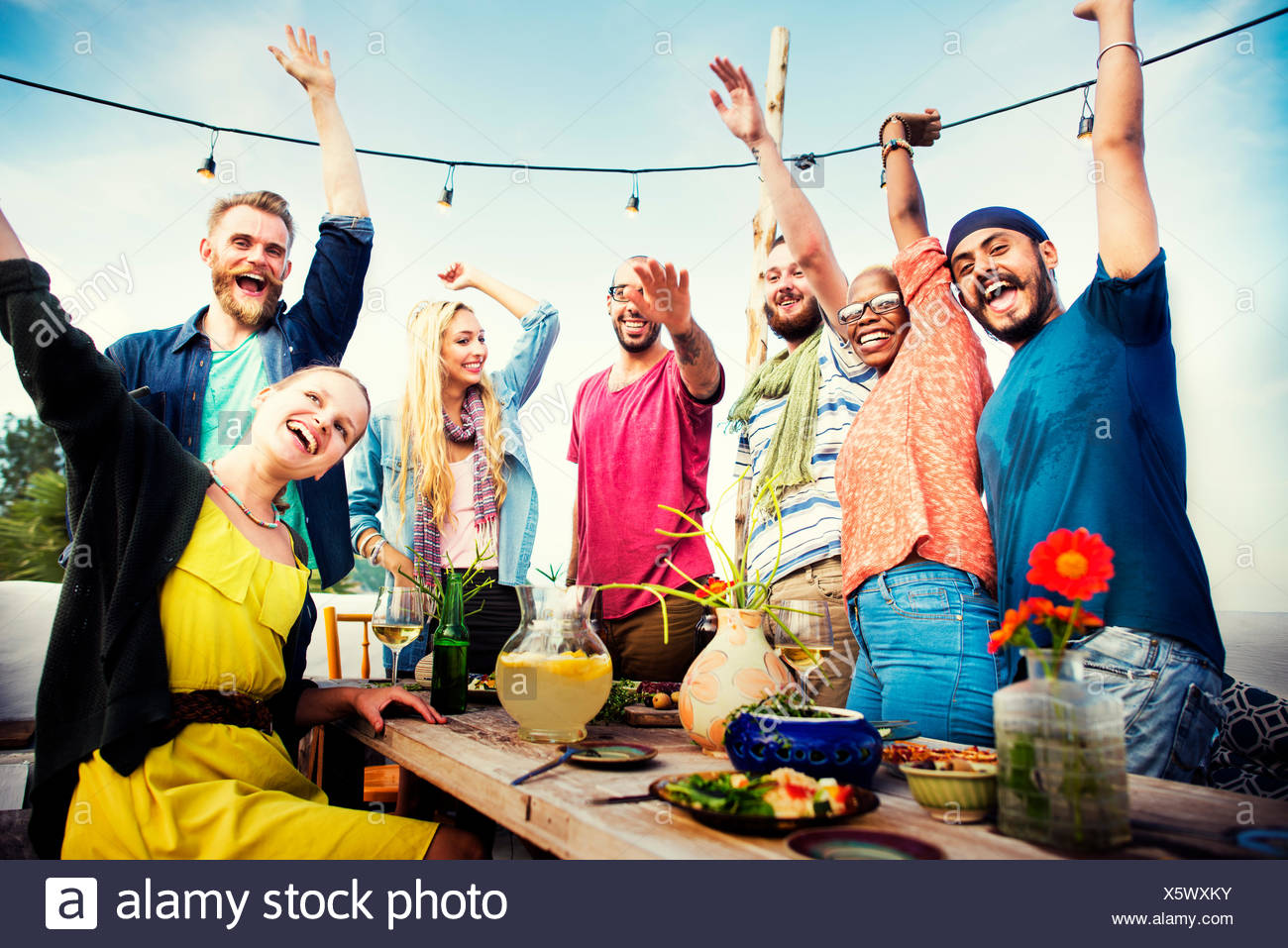 Beach Summer Dinner Party Celebration Concept - Stock Image
