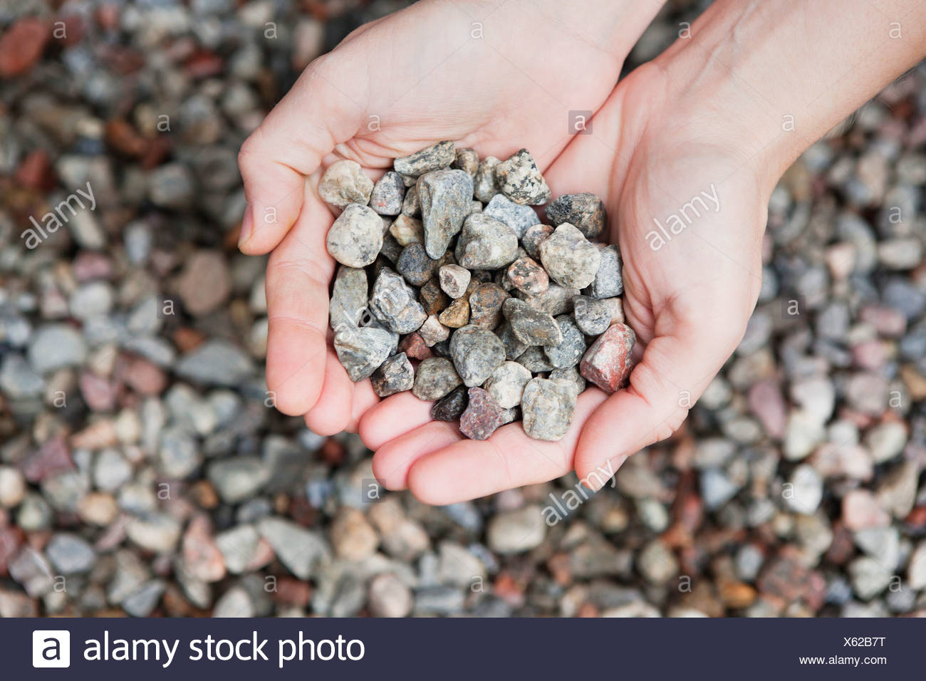 Close-up of a person's hand holding a stones - Stock Image