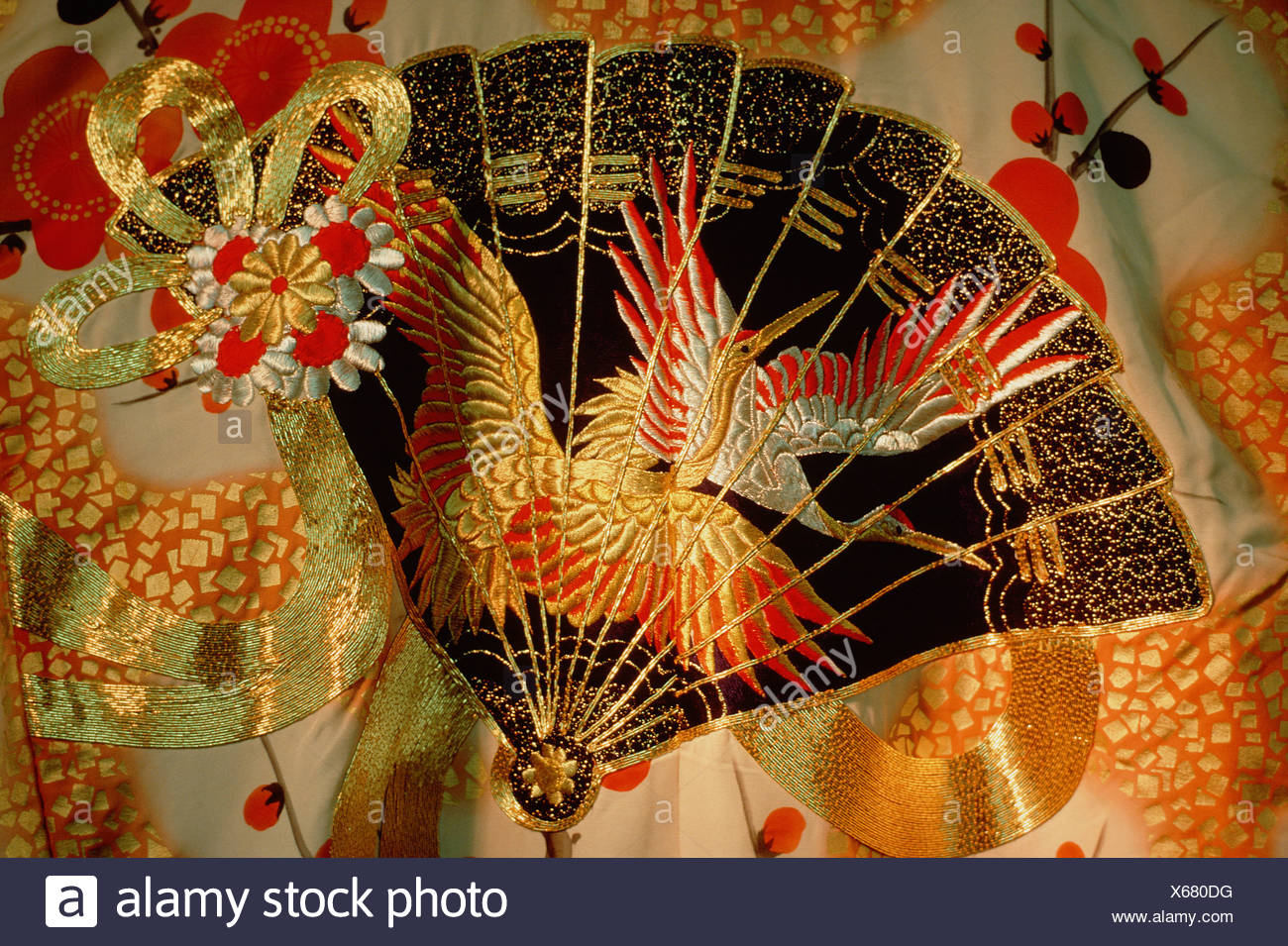 Close Up Of Fan And Bird Design Printed And Embroidered On Japanese