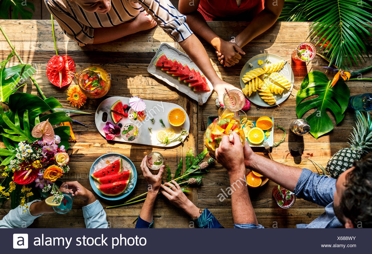 Friends party drinks healthy gathering - Stock Image