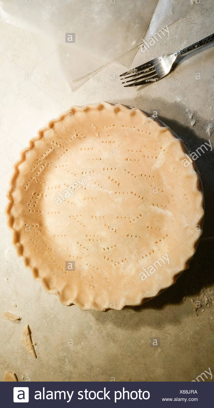 Overhead view of Unbaked Pie Crust - Stock Image