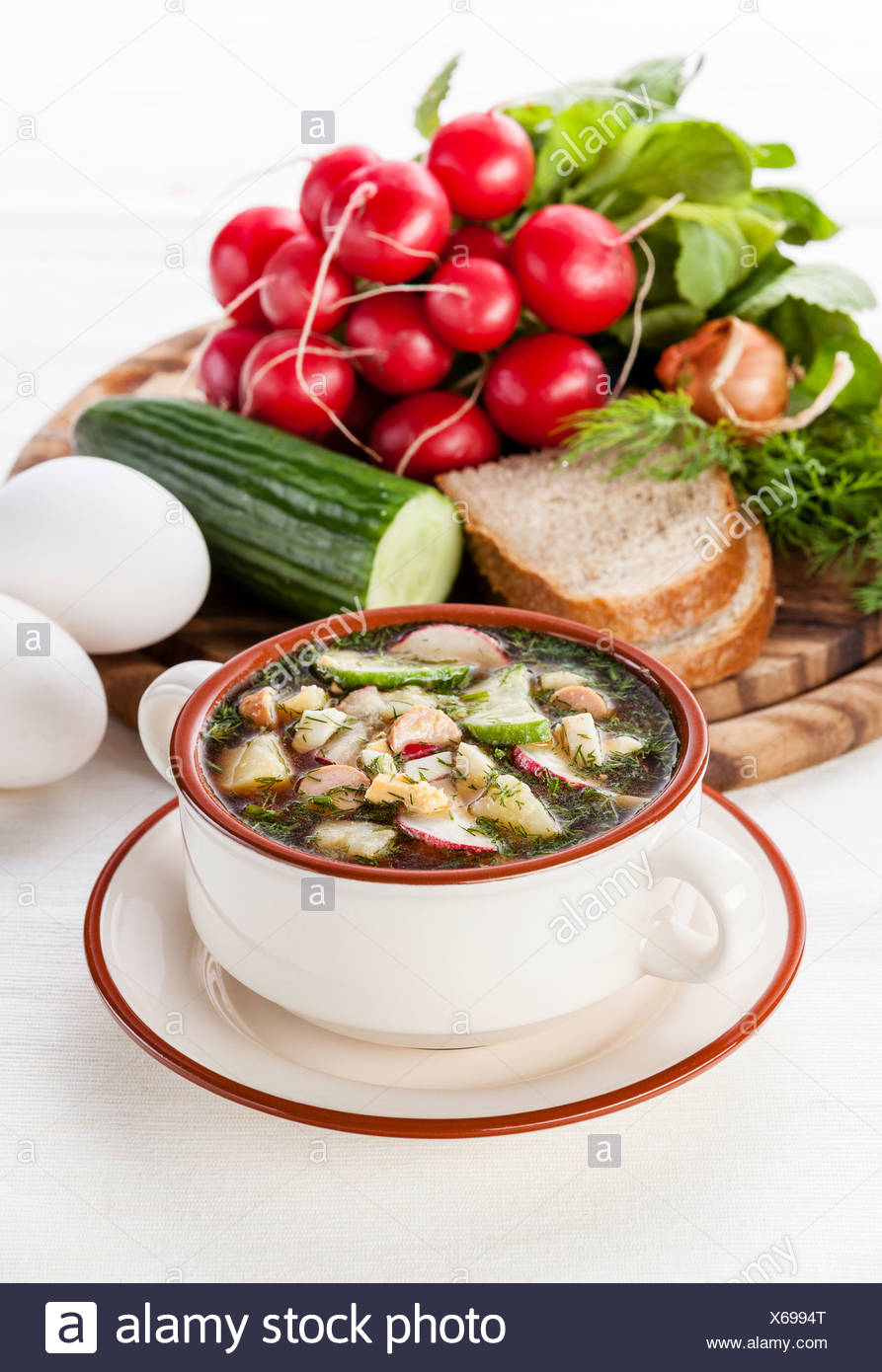 Okroshka - Russian kvass Cold Soup with Vegetables - Stock Image