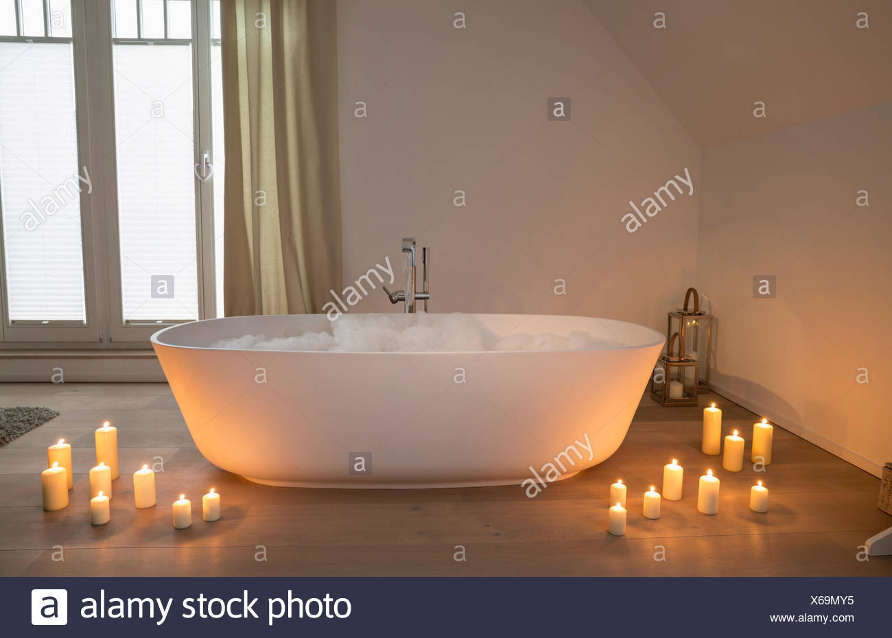 modern bathtub with lighted candles arround stock photo 279267833 rh alamy com  pictures bath candles