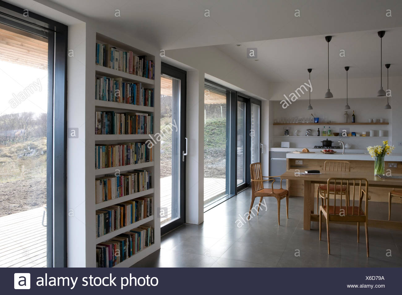 Wall Shelves Between Glass Doors In Modern Open Plant Kitchen With