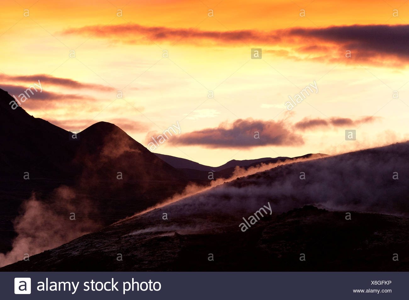 Rising steam, geothermal energy, near Lake Myvatn, northern Iceland, Europe - Stock Image