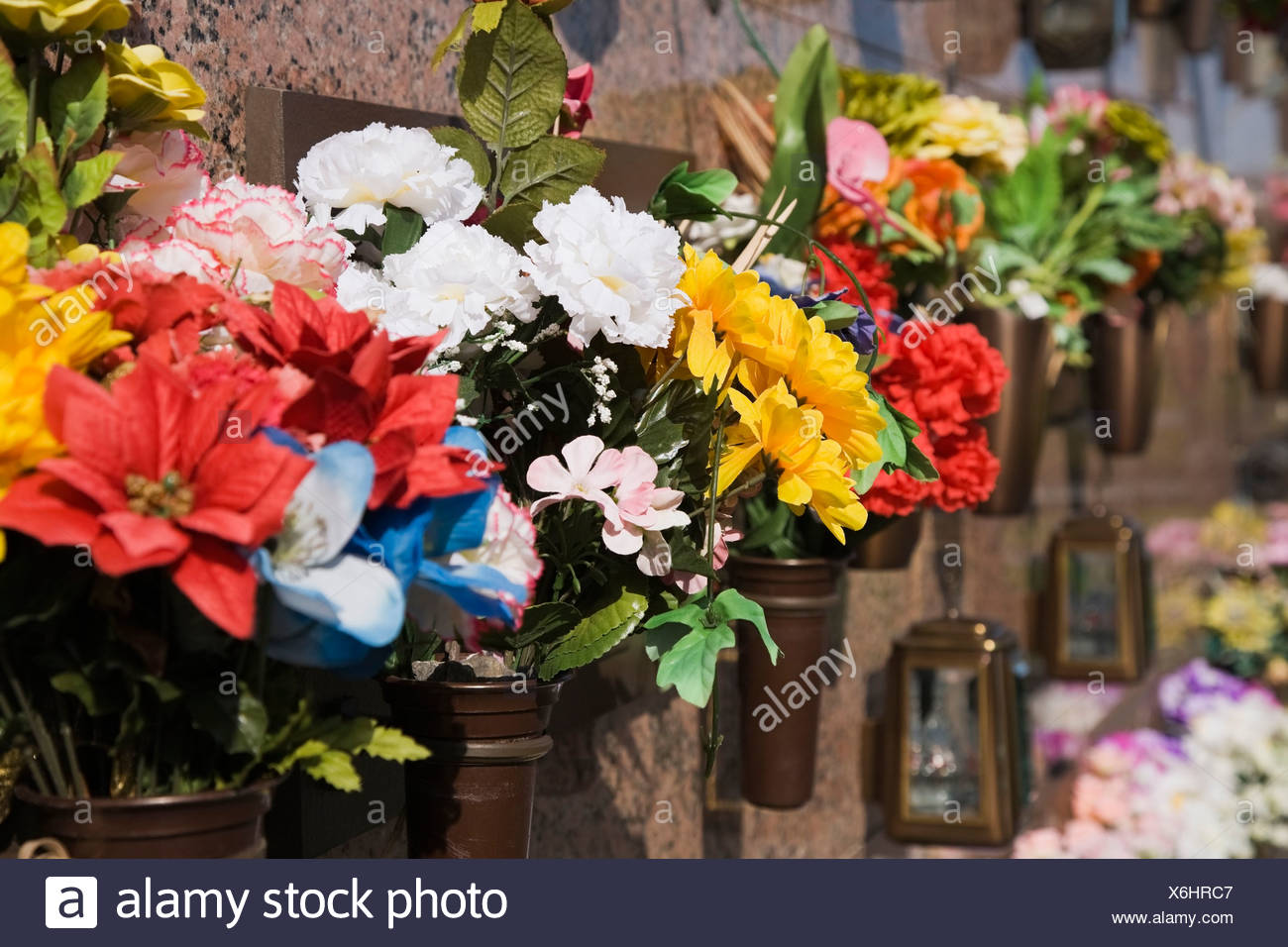 Silk Flower Arrangements At A Columbarium Laval Quebec Canada