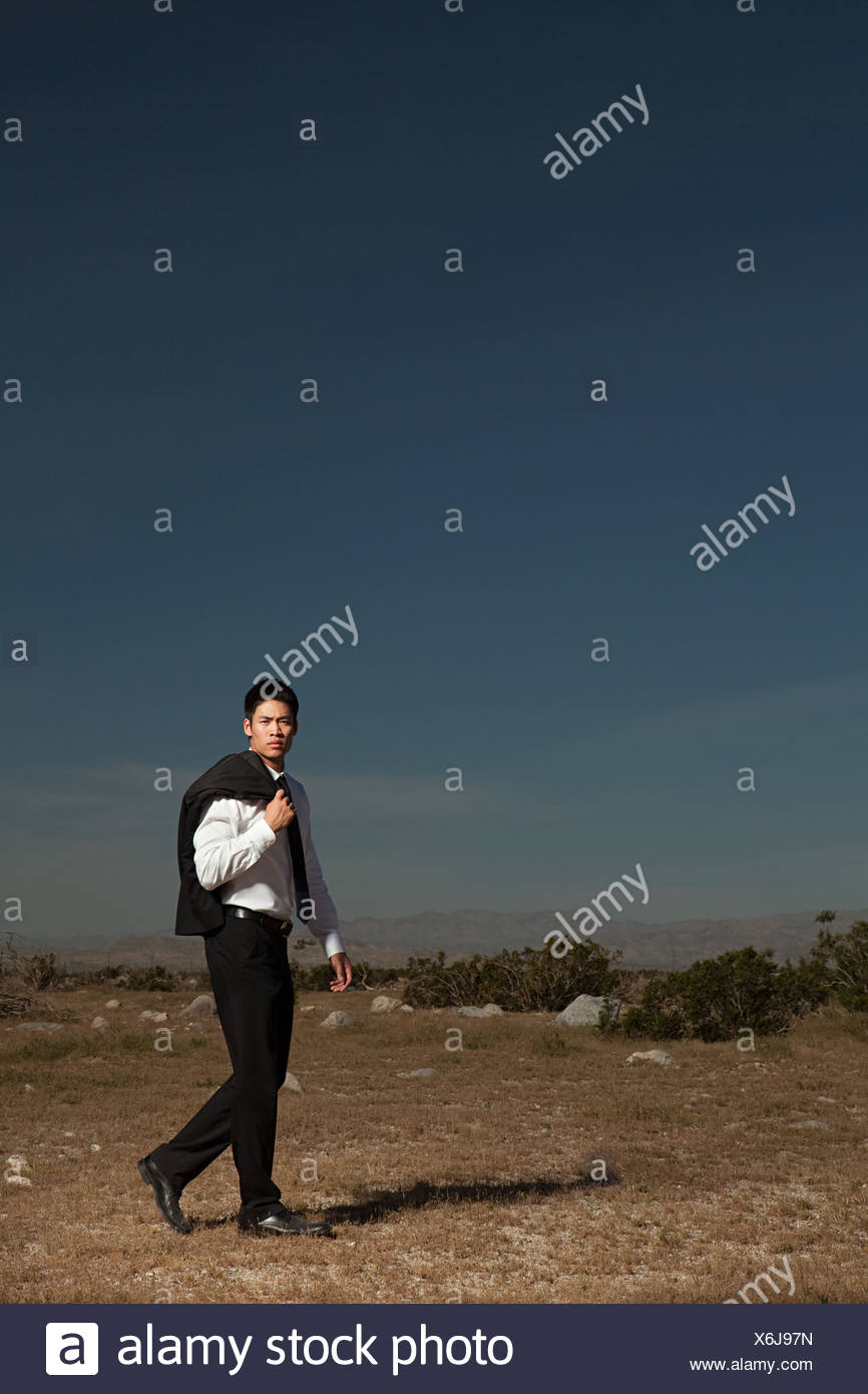 Businessman in wilderness - Stock Image