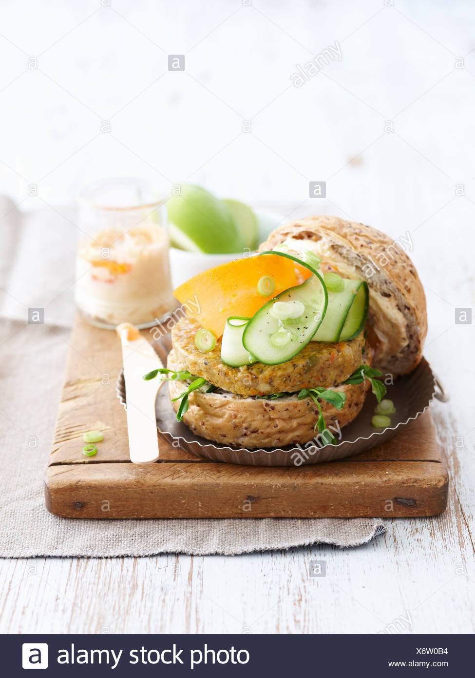 Sandwich with vegetarian patty - Stock Image