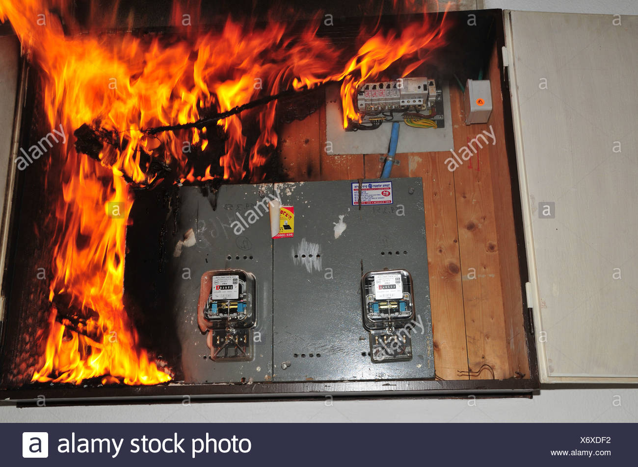 a fire broke out in a household electrical fuse box flames consumed rh alamy com firewall fuse box fire extinguisher for fuse box