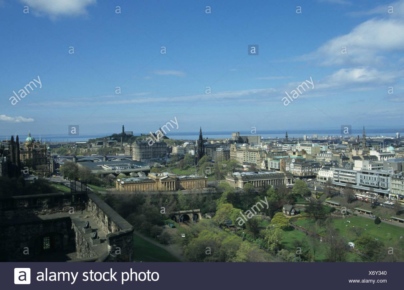 Scotland View from Edinburgh Castle shows Princes St Gardens Waverley Station - Stock Image