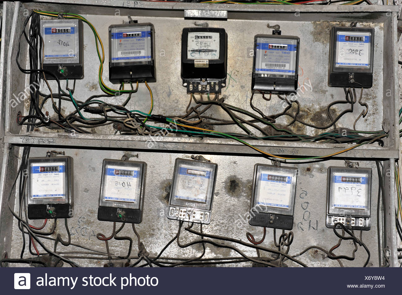 Open Electricity Meter At Entrance Of A House Central Havana Wiring Centro Habana Cuba Greater Antilles Caribbean America