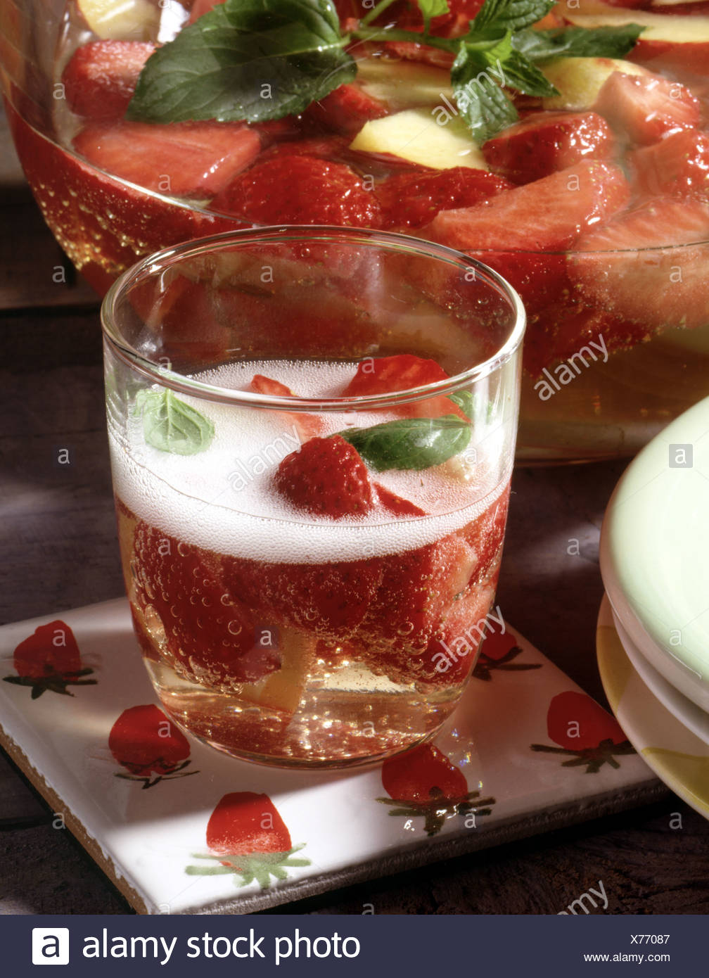 Strawberry Peach Wine Cooler Stock Photo 279822375 Alamy