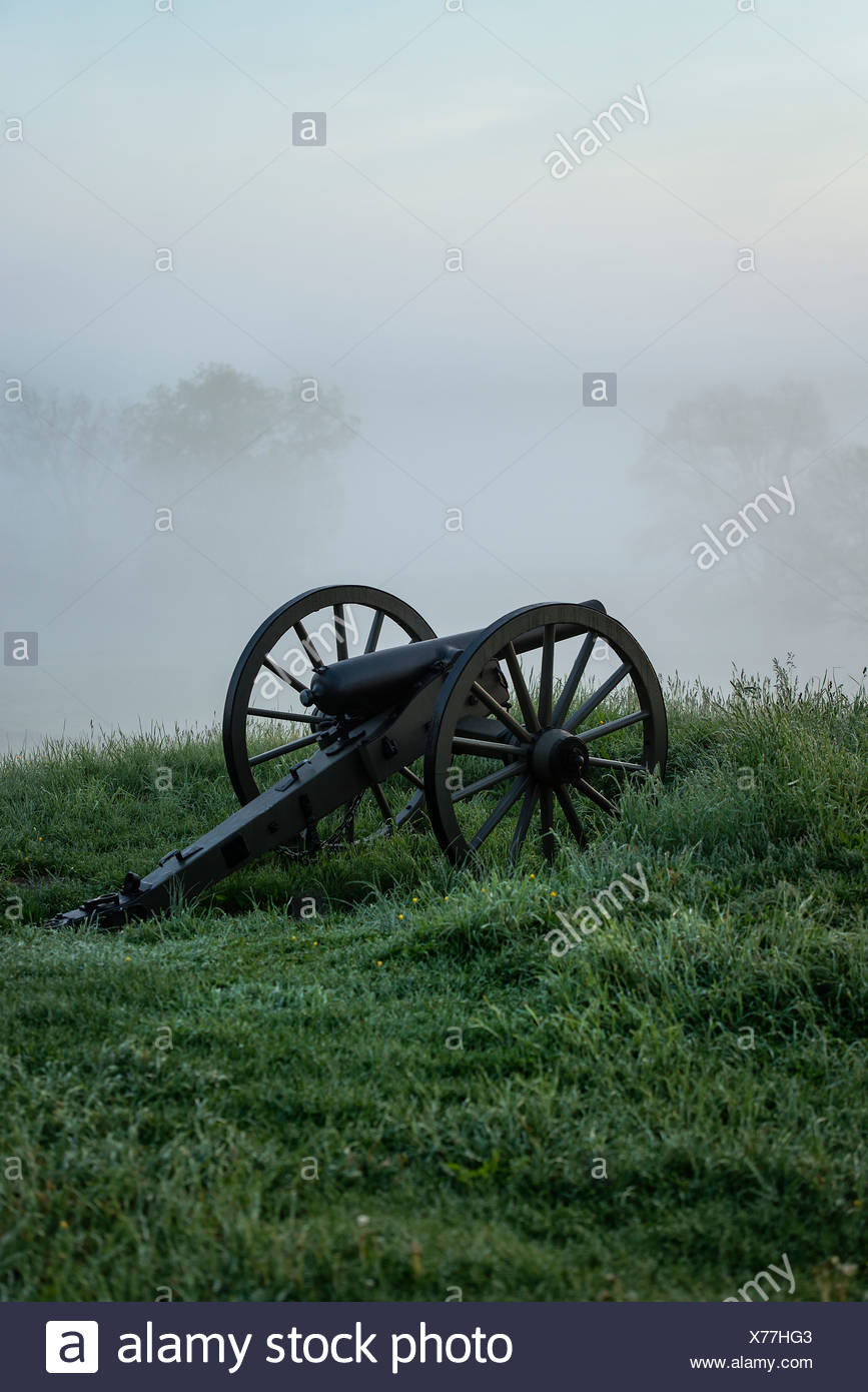 Cannons on Cemetery Hill battlefield, Gettysburg National Military Park, Pennsylvania, USA - Stock Image