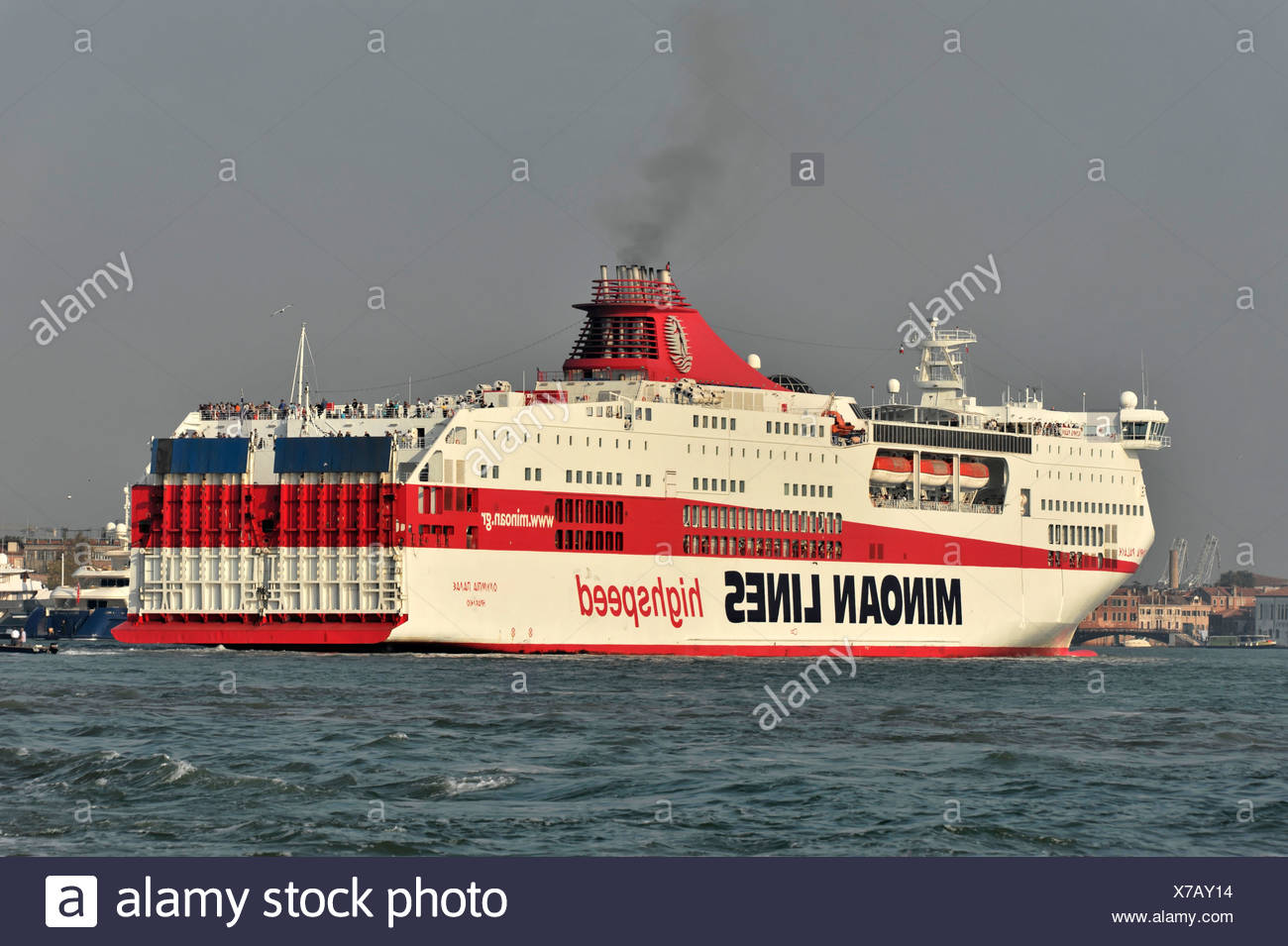 Olympia Palace, a ferry, Minoan Lines, built in 2001, 214m, 2182  passengers, approaching the harbour, Venice, Veneto region