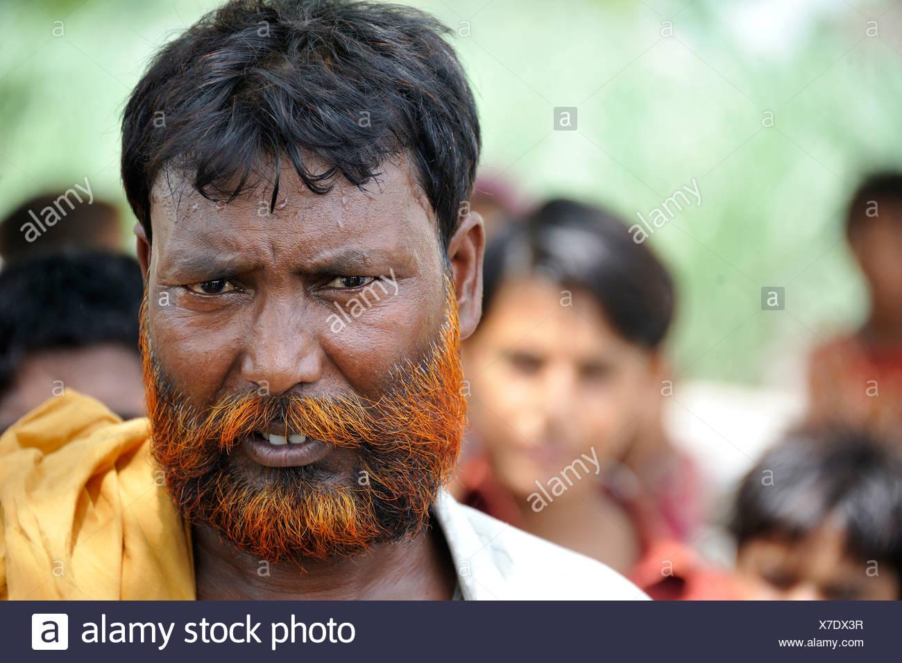 Man With A Henna Dyed Beard Portrait Muzaffaragarh Punjab
