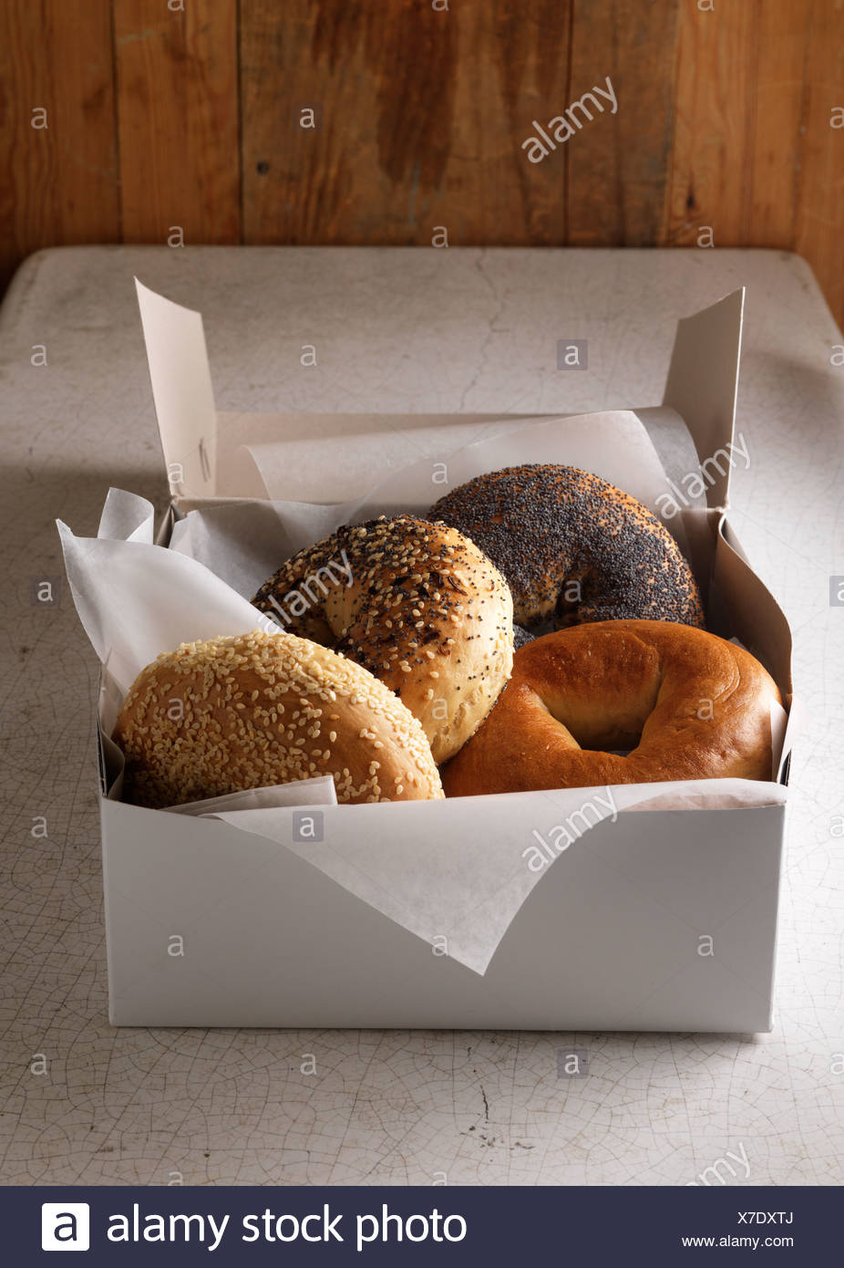 Box of various bagels - Stock Image