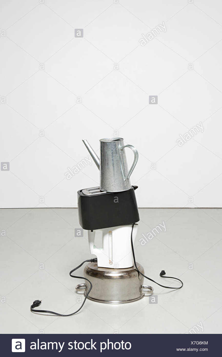 Stack of household objects - Stock Image