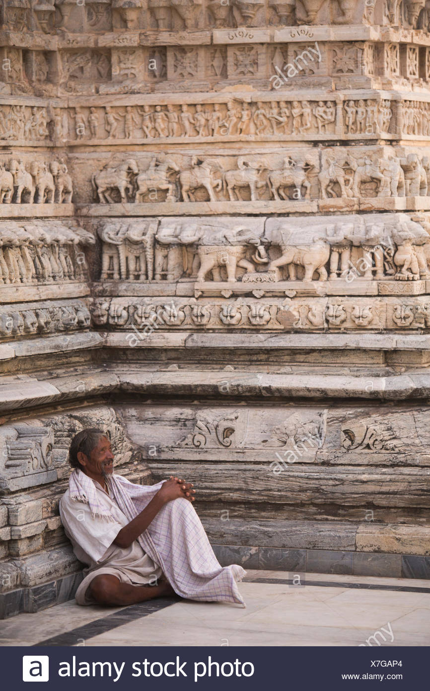 Hindu, religion, Jagdish, temple, Udaipur, Rajasthan, Asia, man, traditional, frieze, animals, - Stock Image
