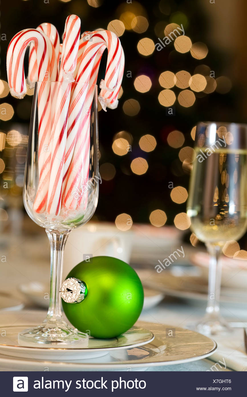 Candy Canes And Ornaments As Christmas Table Decorations Stock Photo