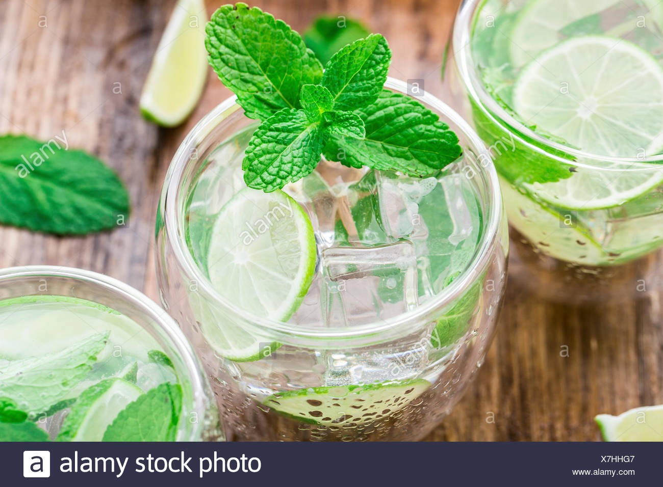 Ice cold cocktail with lime and mint - Stock Image