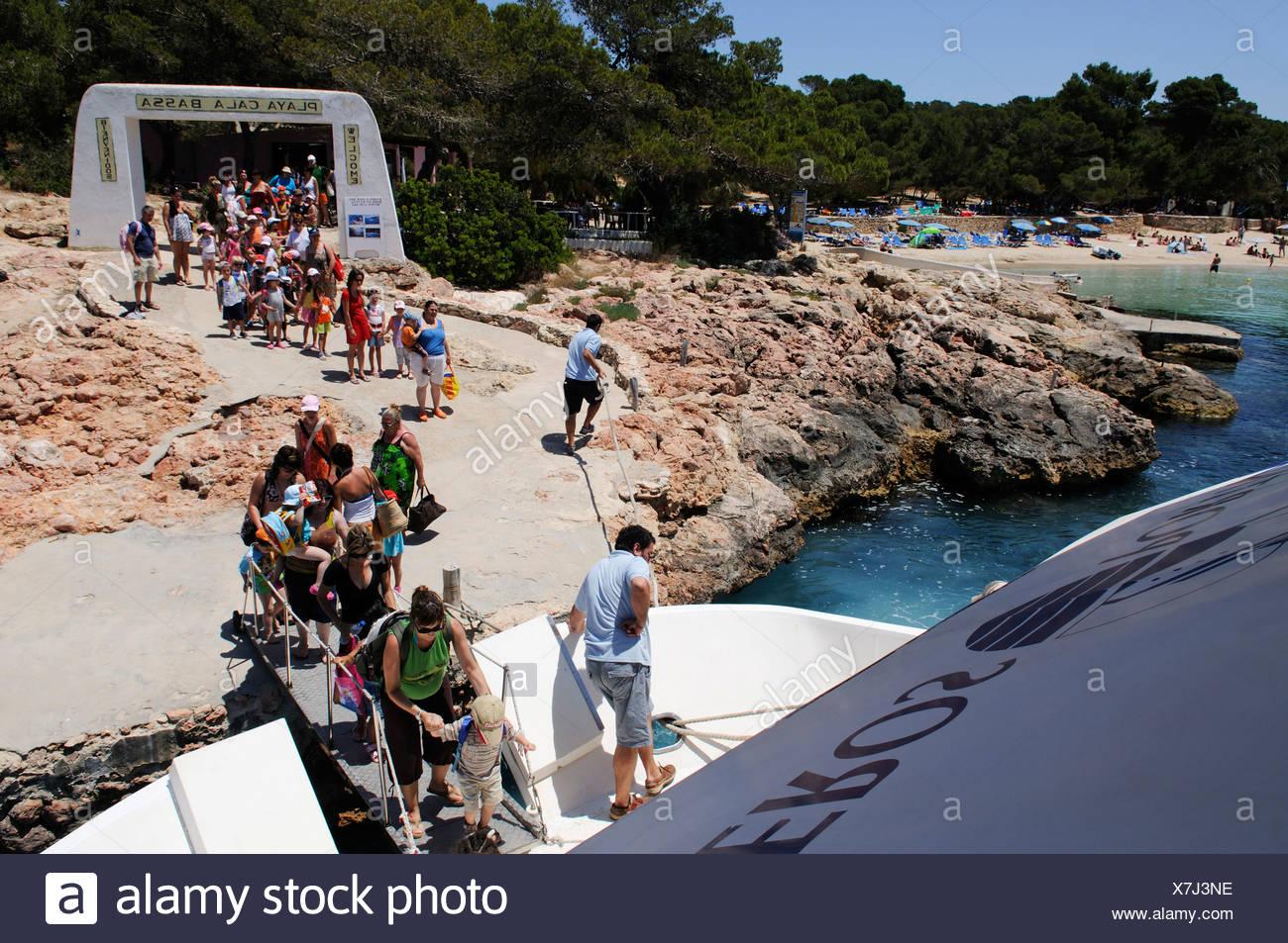 Kindergarten trip, Cala Bassa, Ibiza, Pine Islands, Balearic Islands, Spain, Europe - Stock Image