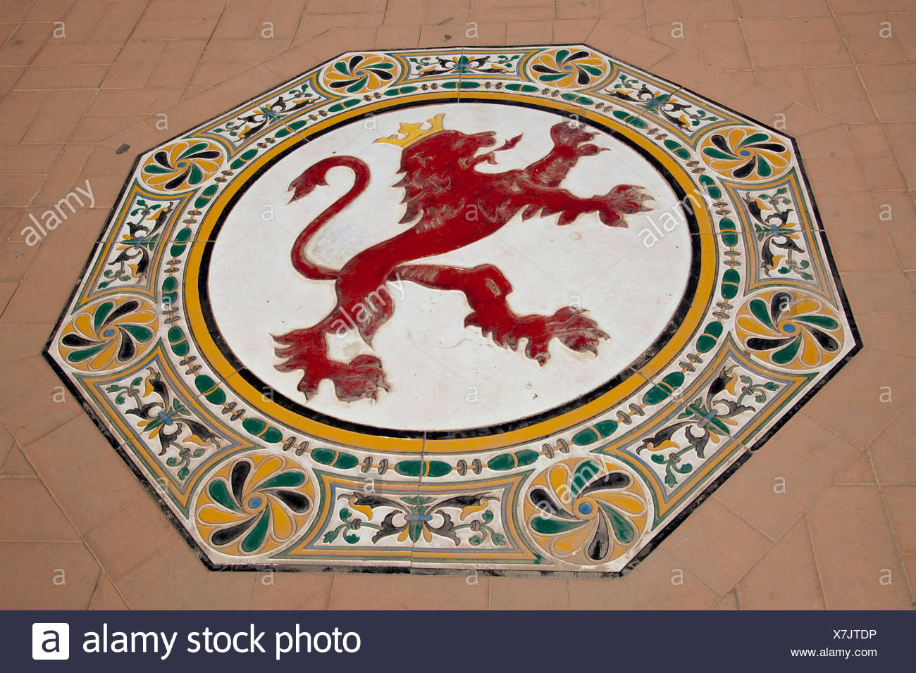 Ceramic Figure Of A Lion On The Floor In The Plaza De Espana