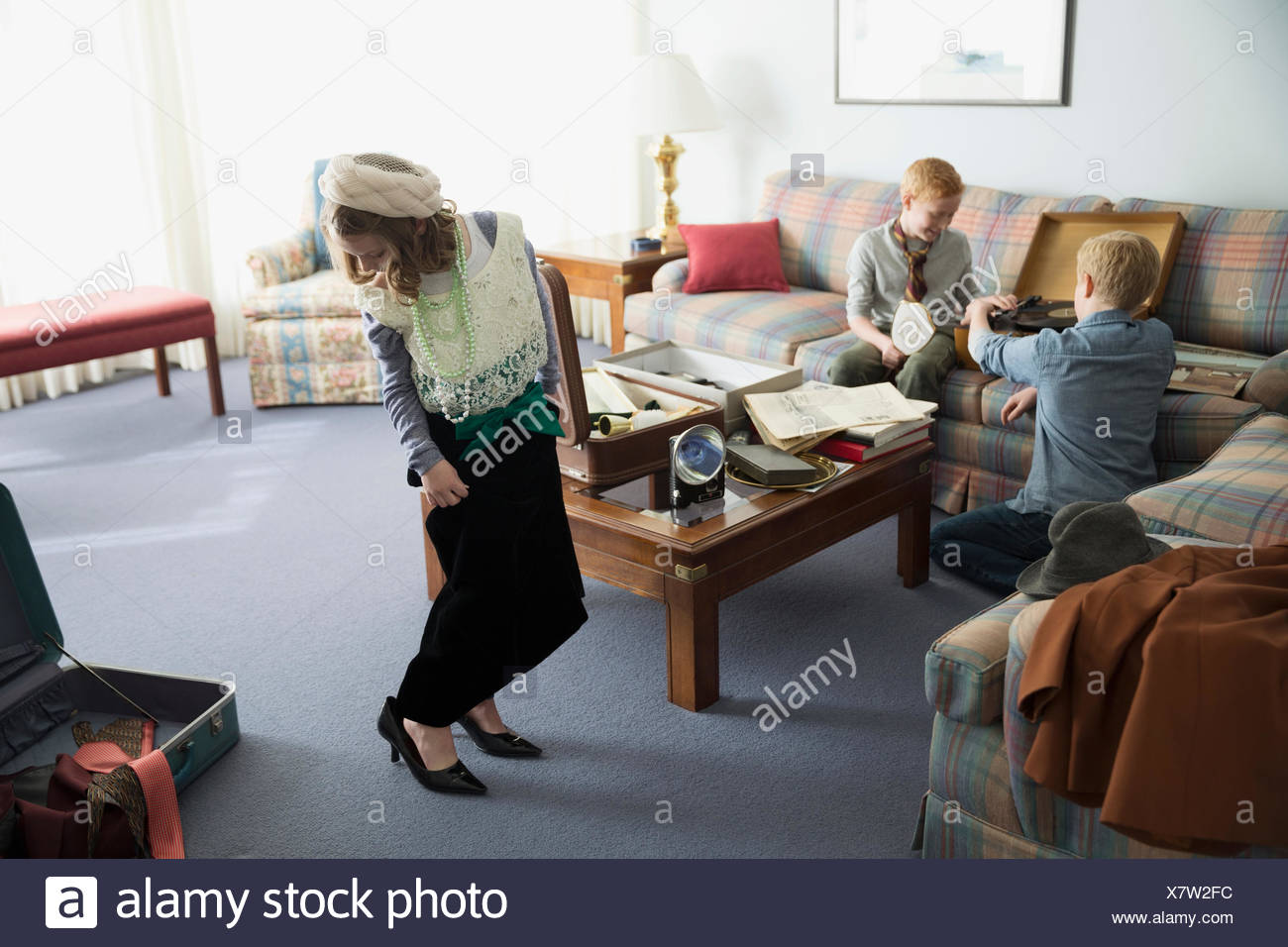 Girl wearing old-fashioned clothing - Stock Image