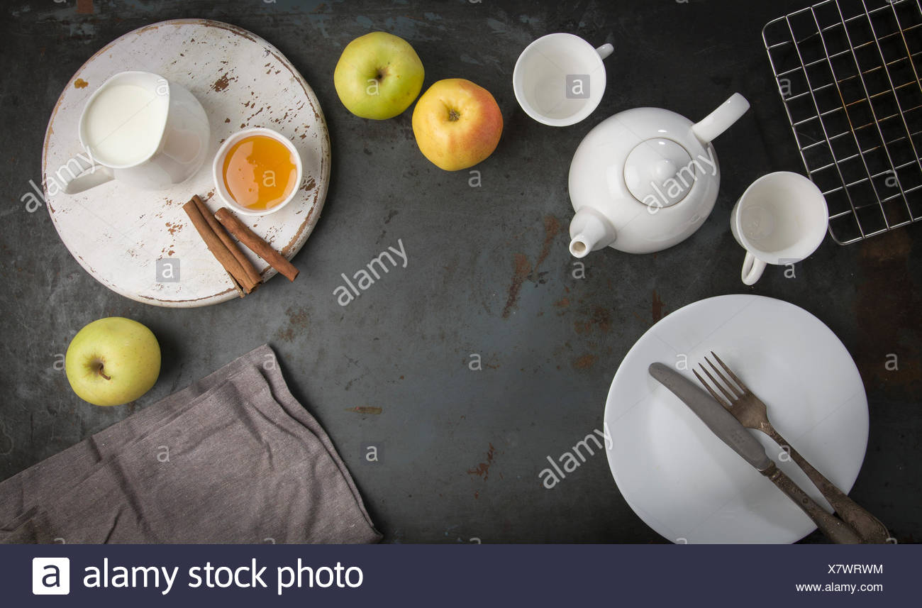 Morning breakfast with tea and apples. - Stock Image