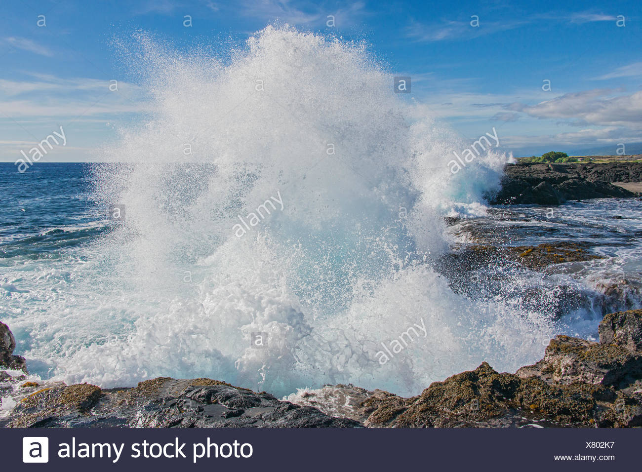 Pounding surf, Wawaloli Beach Park, Hawaii Island (Big Island). Hawaiian Islands, central Pacific Ocean, USA - Stock Image