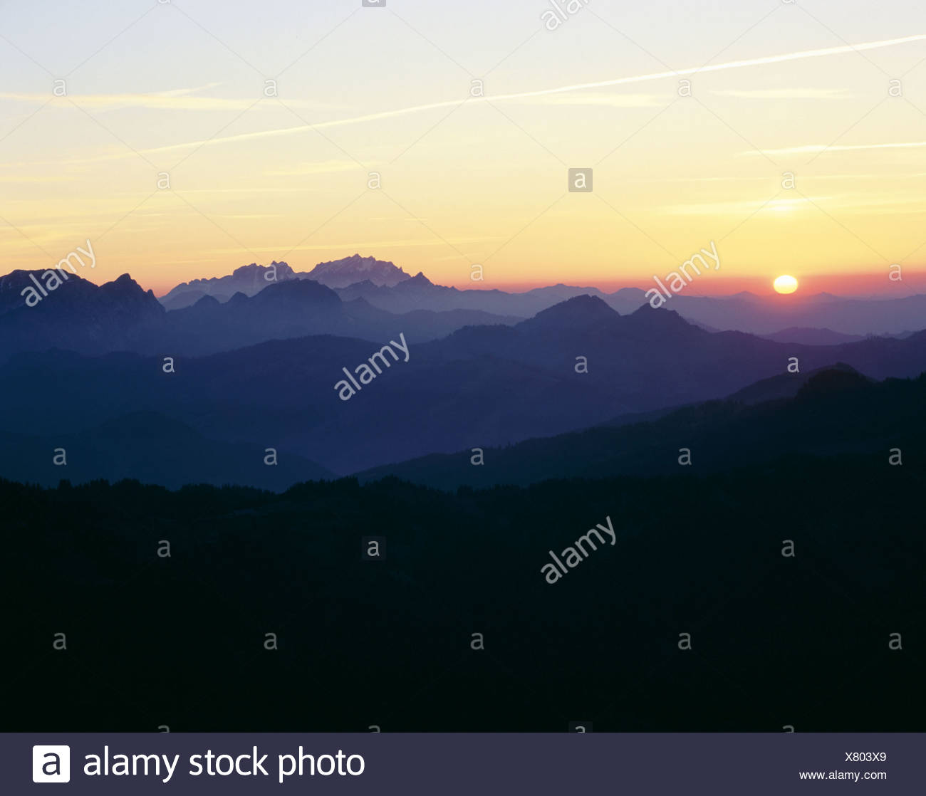 alpine Alps mountains view from large myth dusk twilight canton Schwyz scenery in morning Santis Switze - Stock Image