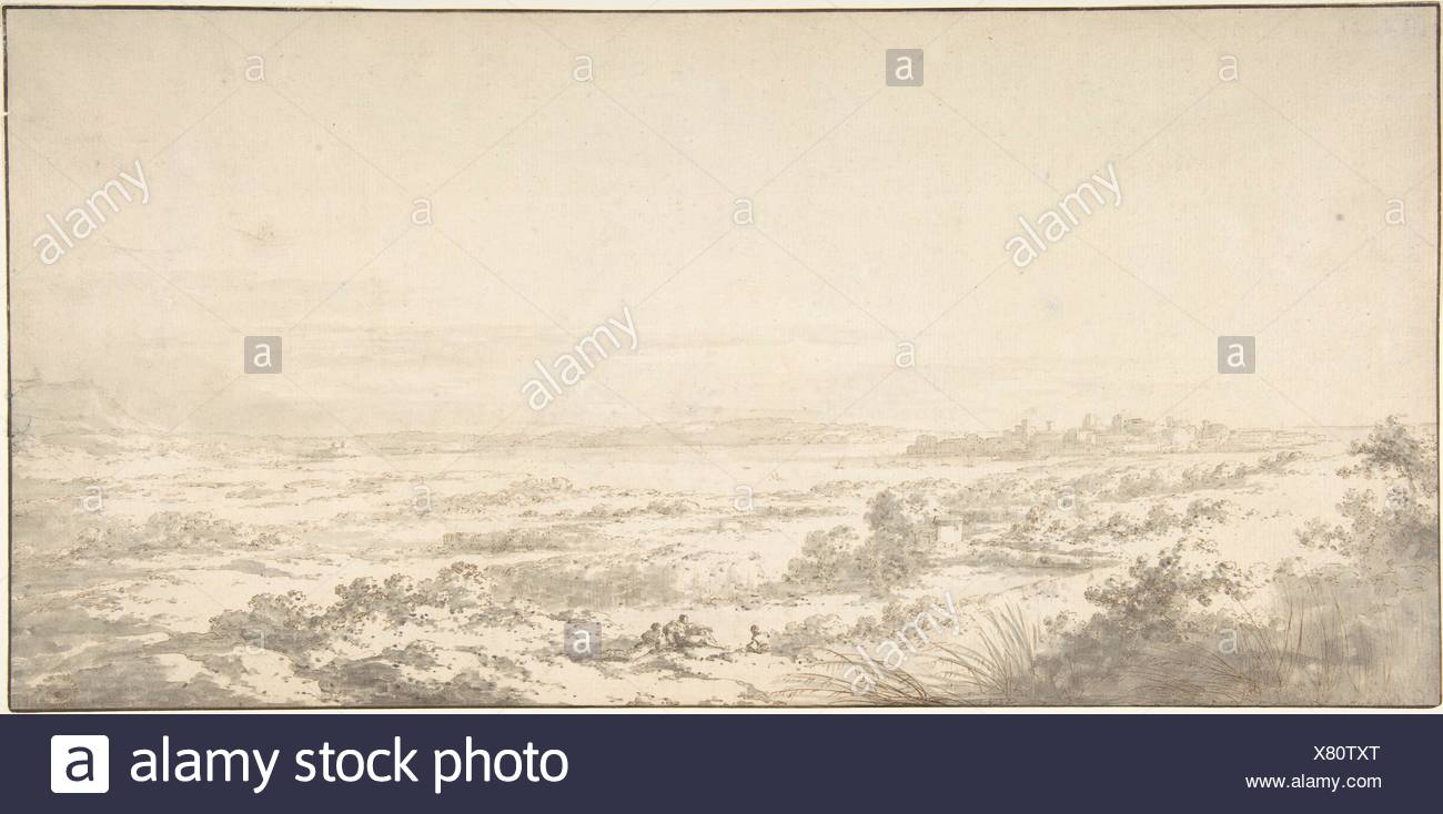 Distant View of Syracuse and its Harbor. Artist: Claude Louis Châtelet (French, Paris 1753-1794 Paris); Date: late 18th century; Medium: Pen and pale - Stock Image