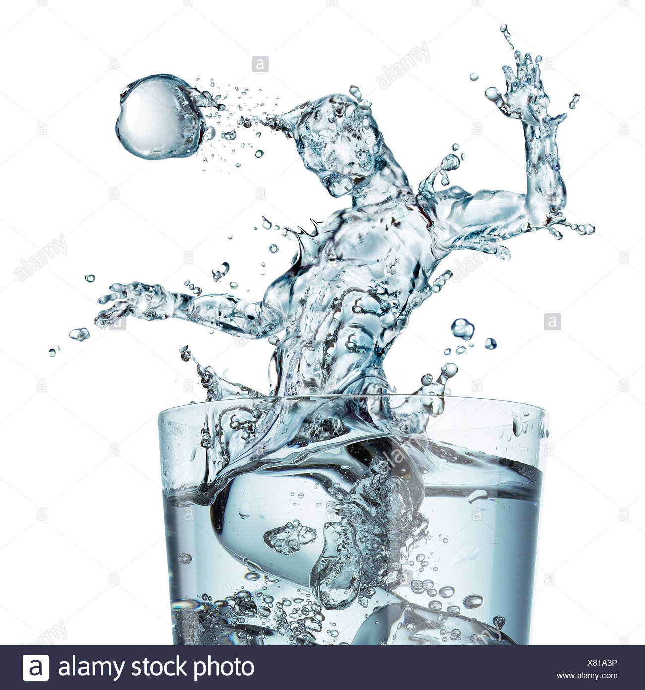 Sports hydration conceptual computer artwork Glass of water with a splash shaped as a football player heading the ball - Stock Image