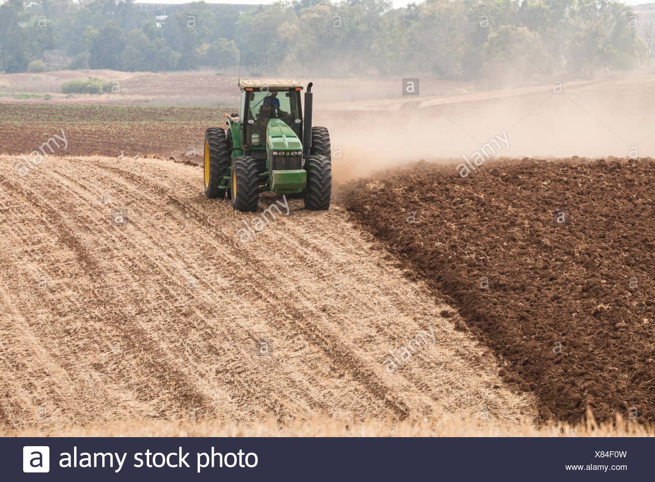 Tractor plowing a field, countryside, Israel - Stock Image