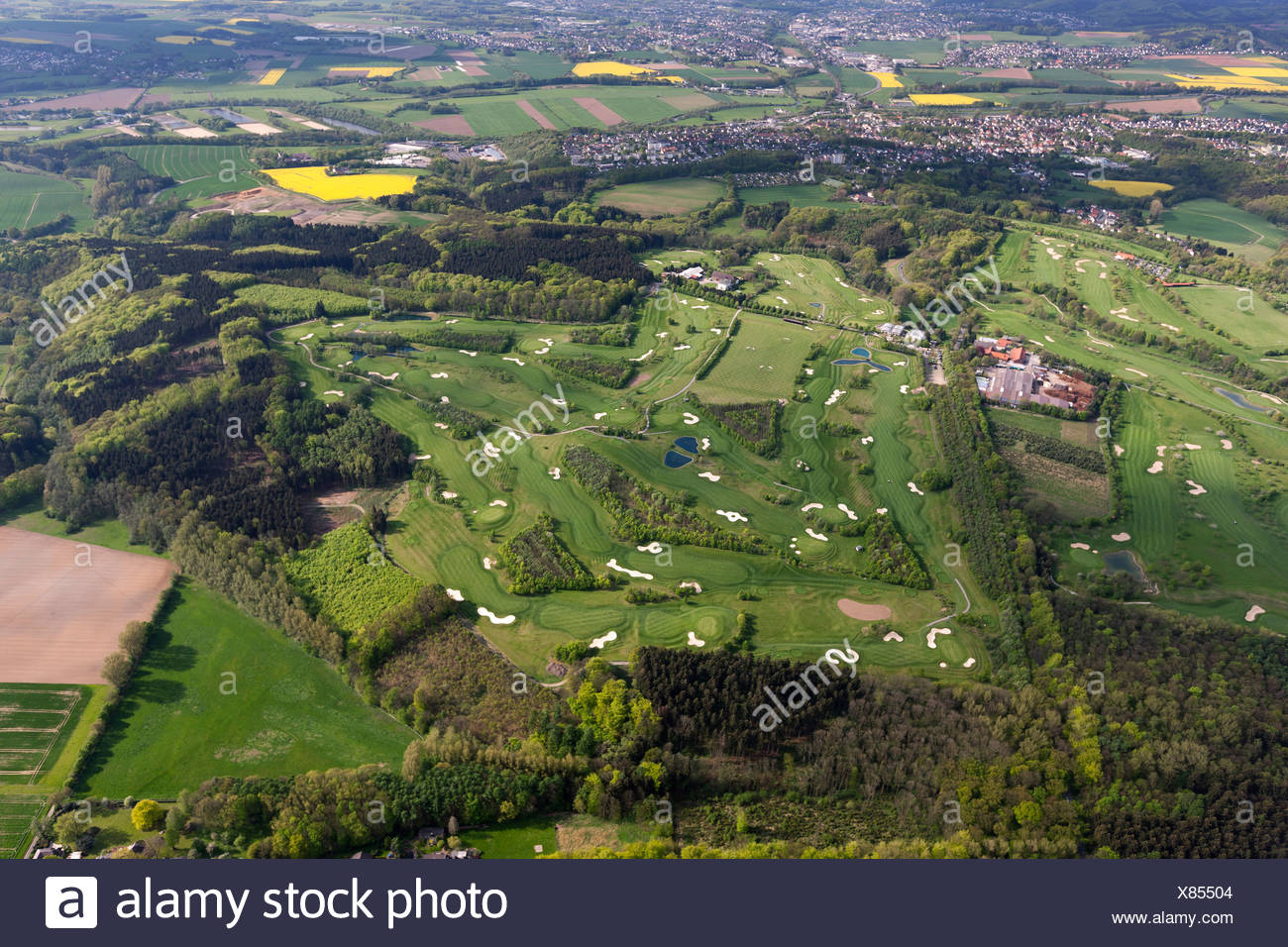 Aerial view, Gut Neuenhof Golf Club, 18-hole golf course and the clubhouse, Froendenberg Ruhr, Ruhr area, North Rhine-Westphalia - Stock Image