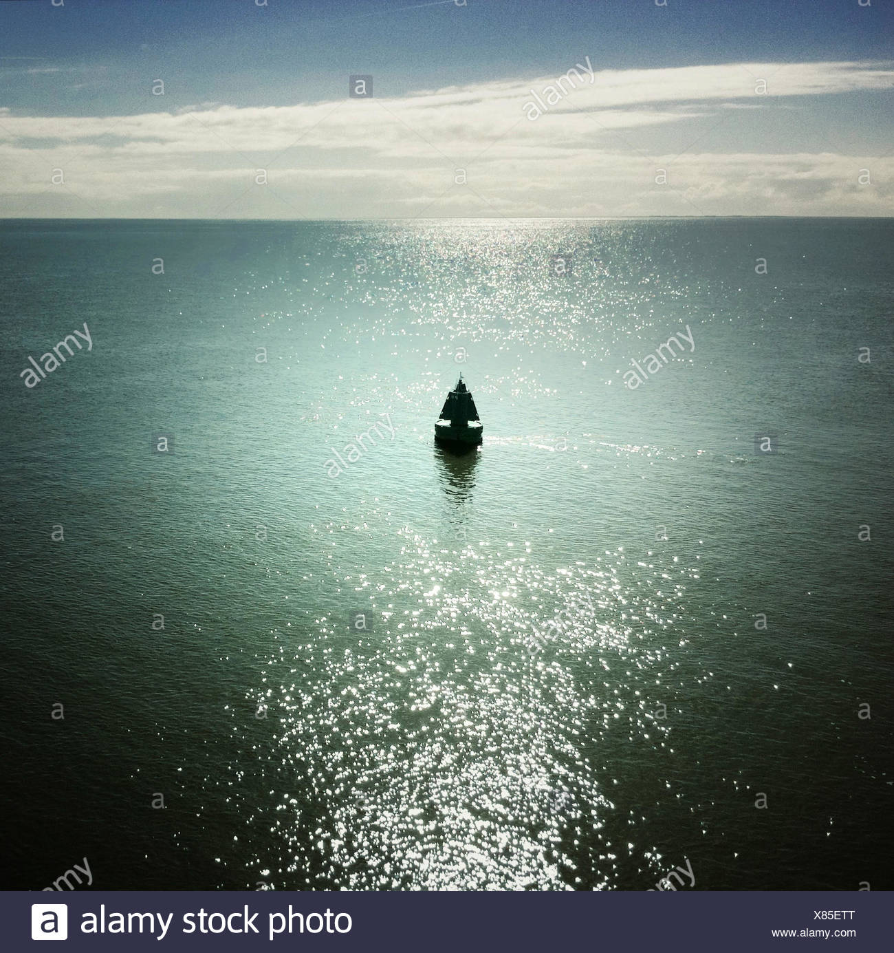 View of buoy at sea - Stock Image