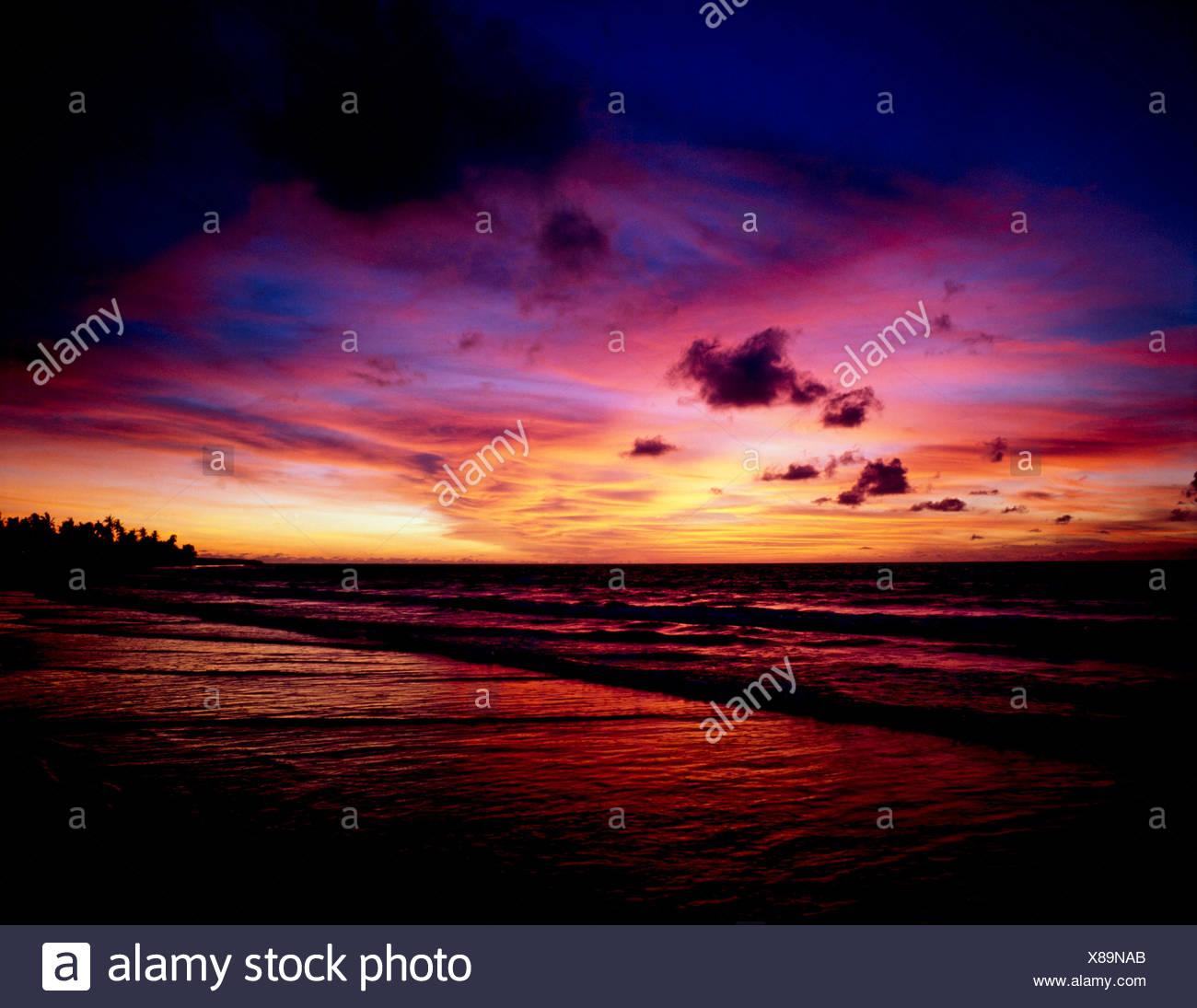 KUTA BEACH AT SUNSET,BALI,INDONESIA - Stock Image