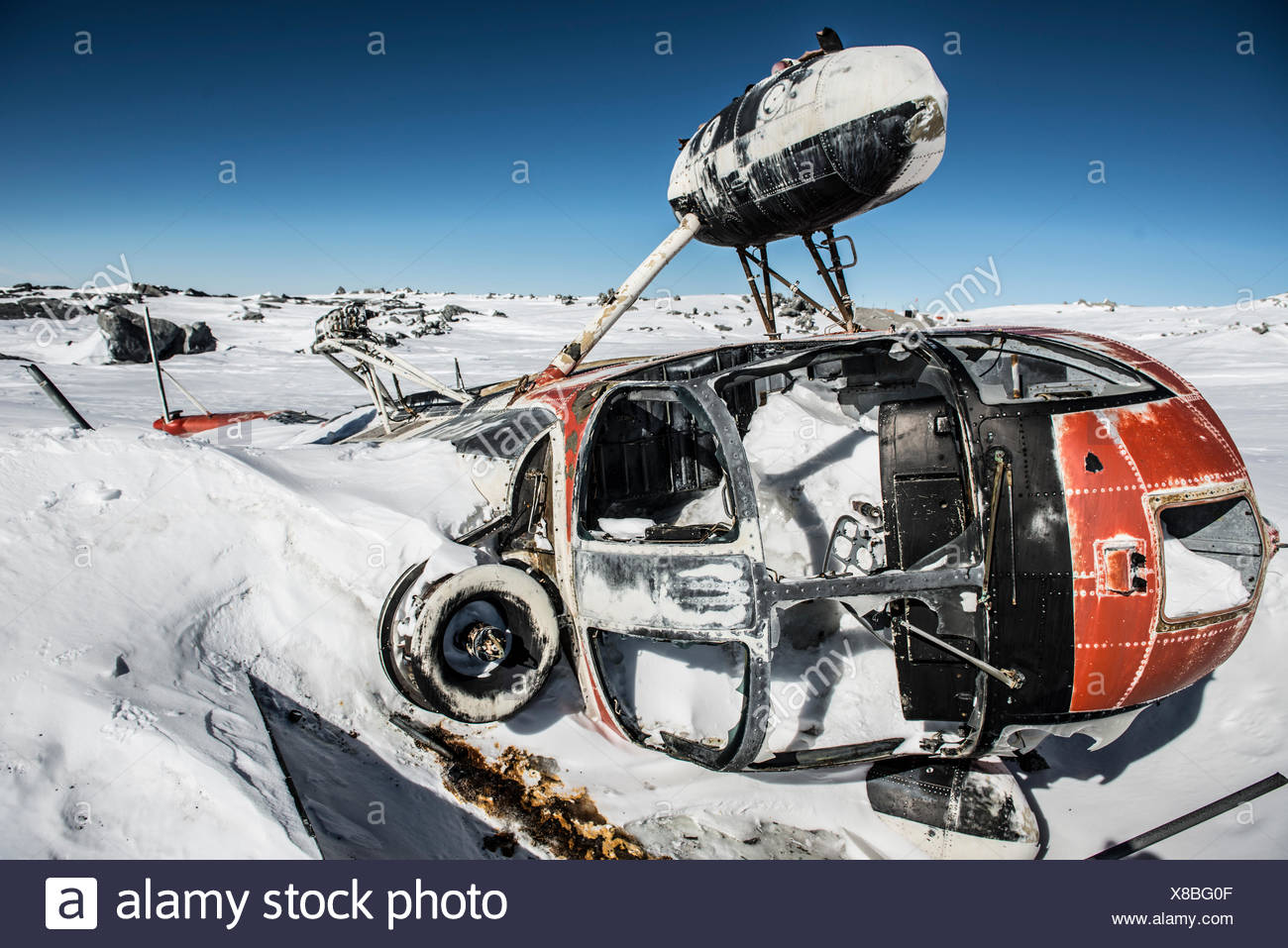 Crashed Helicopter near the summit of Mount erebus, Antarctica. - Stock Image