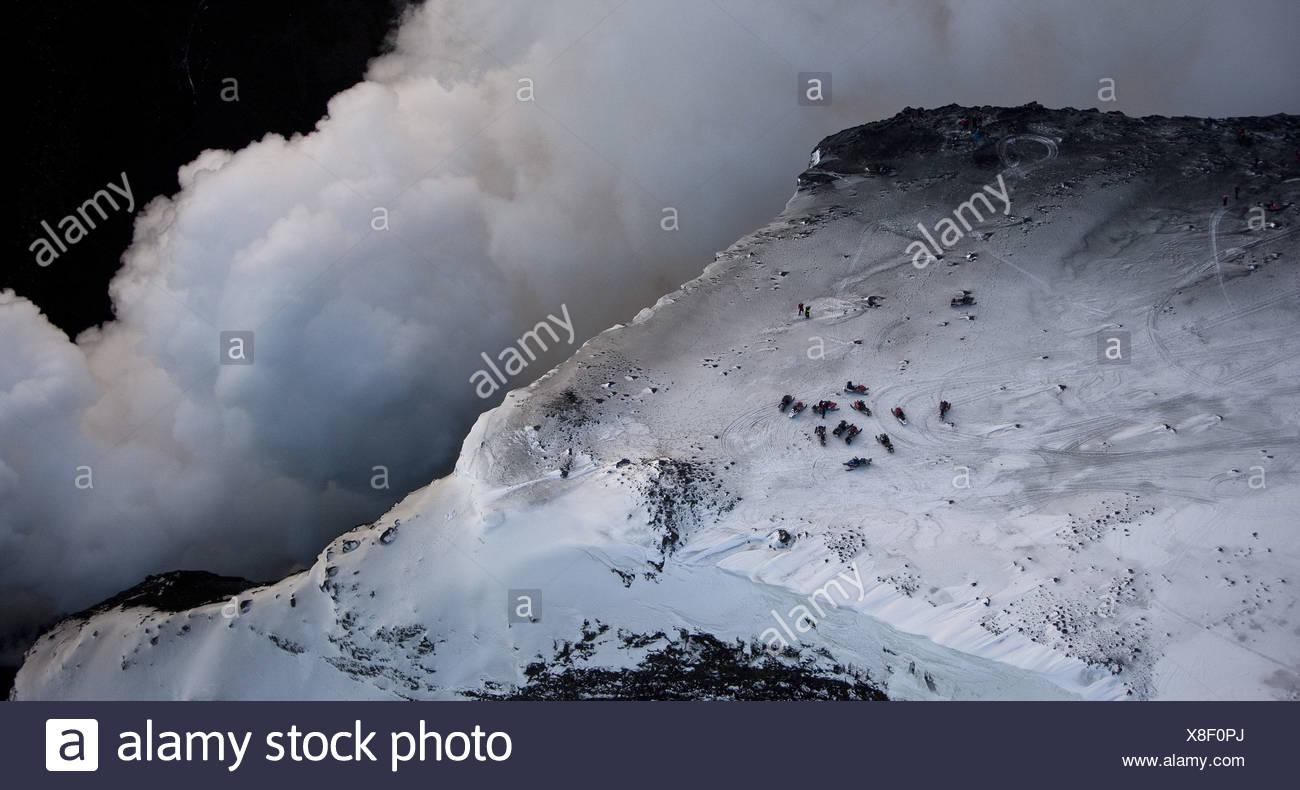 Steam and Lava- volcano eruption in Iceland at Fimmvorduhals, a ridge between Eyjafjallajokull glacier and Myrdalsjokull glacier - Stock Image