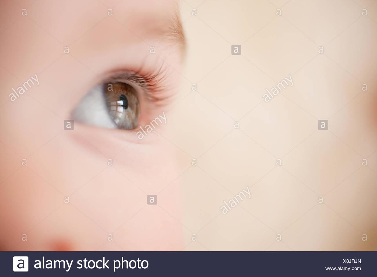 Close up of babyÂ's eye - Stock Image