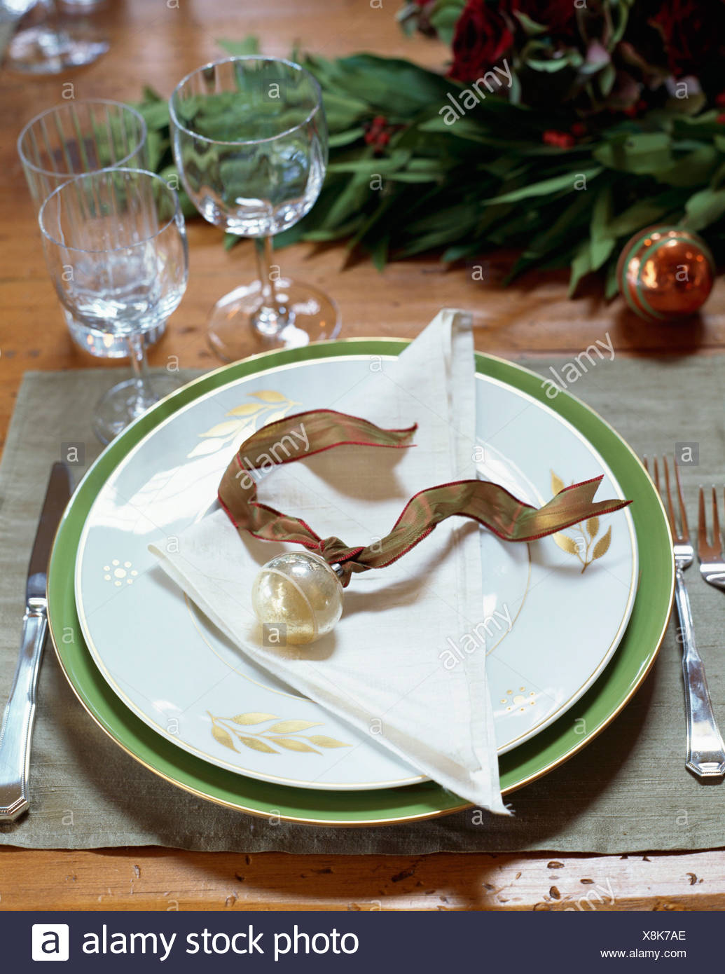 Christmas Place Setting With Bauble And Ribbon