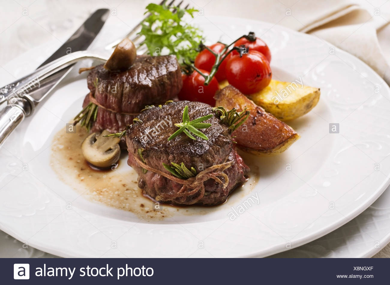 beef edallions - Stock Image